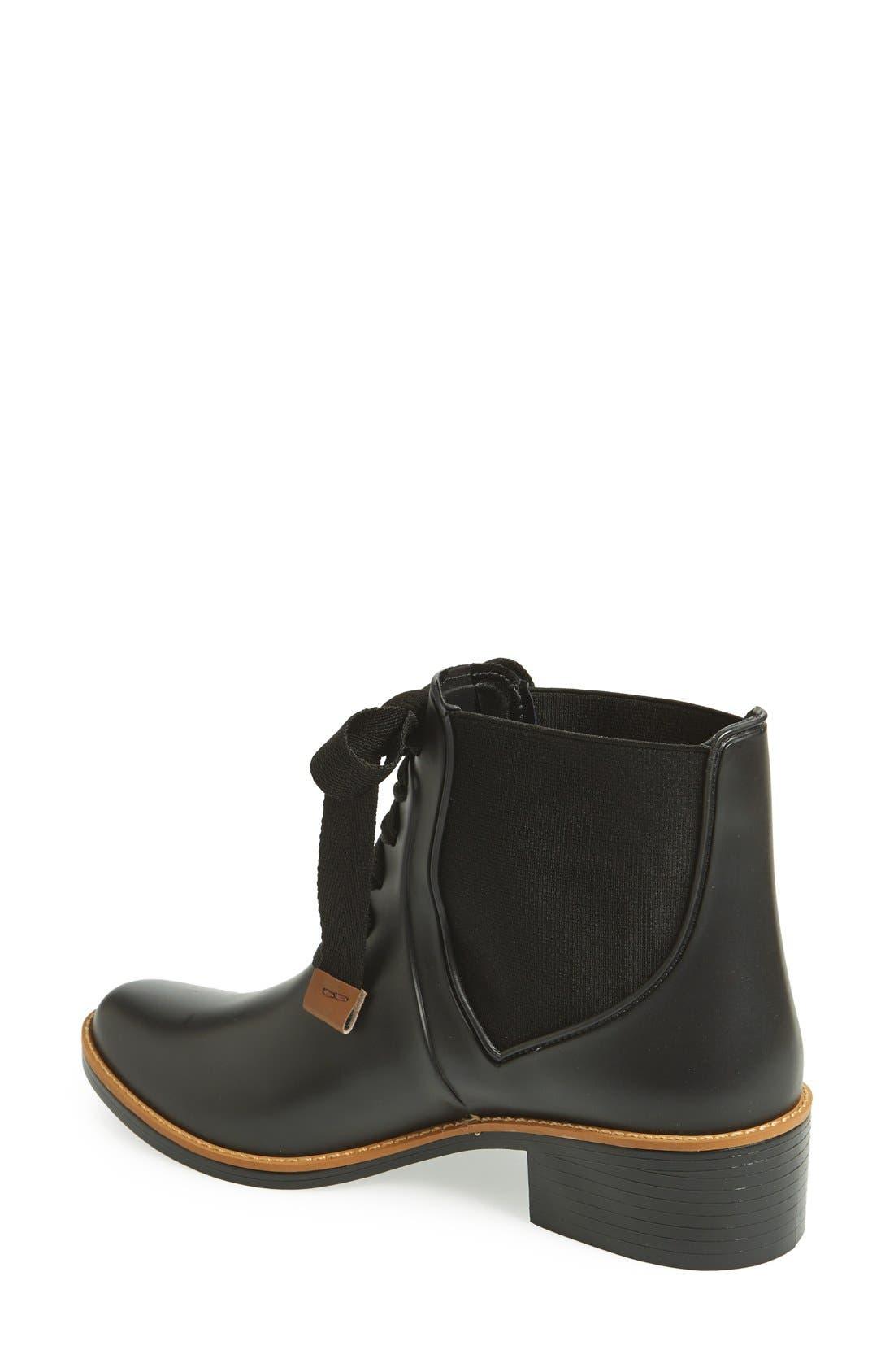 BERNARDO, Lacey Short Waterproof Rain Boot, Alternate thumbnail 4, color, 001