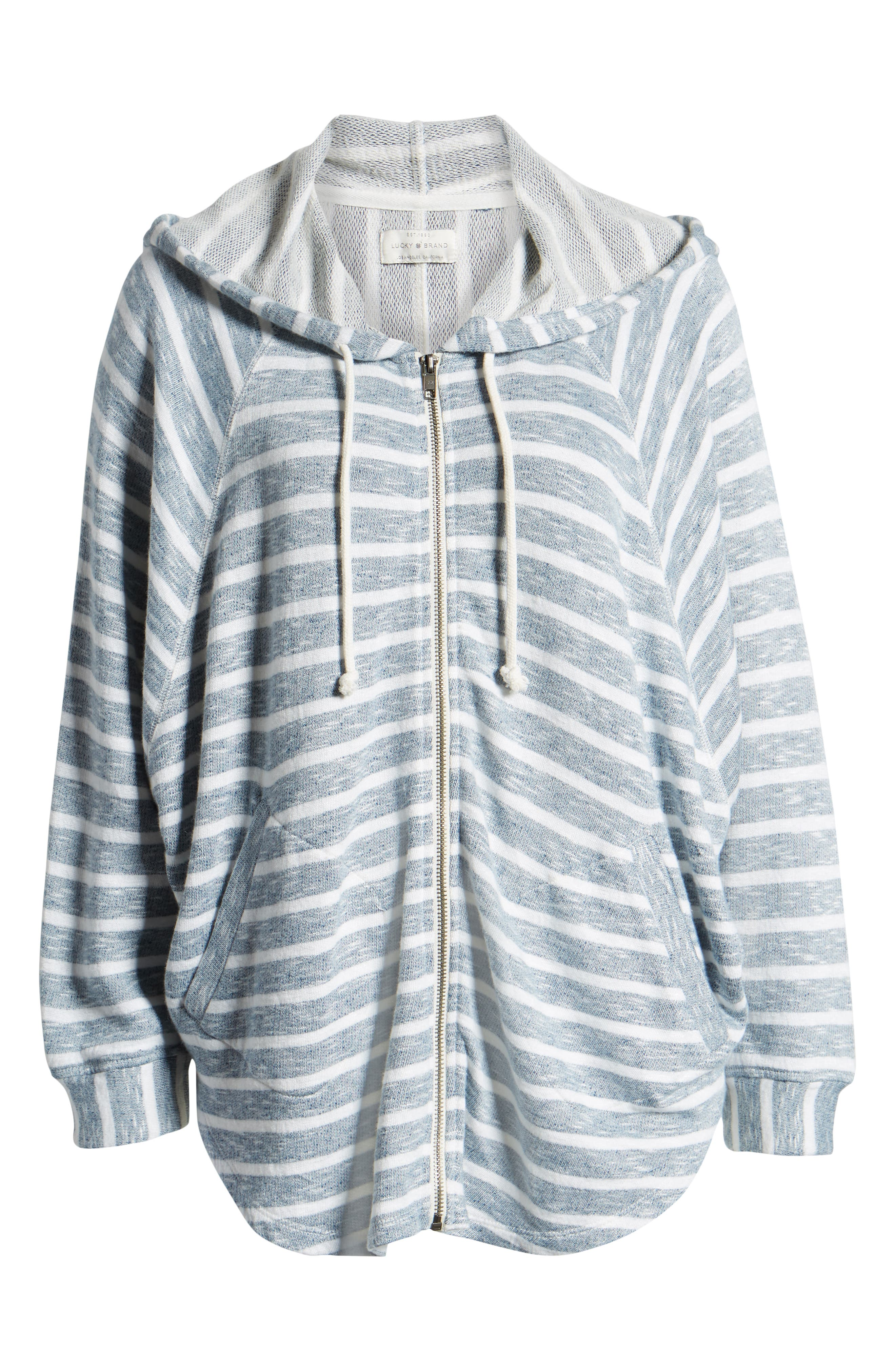 LUCKY BRAND, Striped Hooded Poncho, Alternate thumbnail 6, color, BLUE MULTI