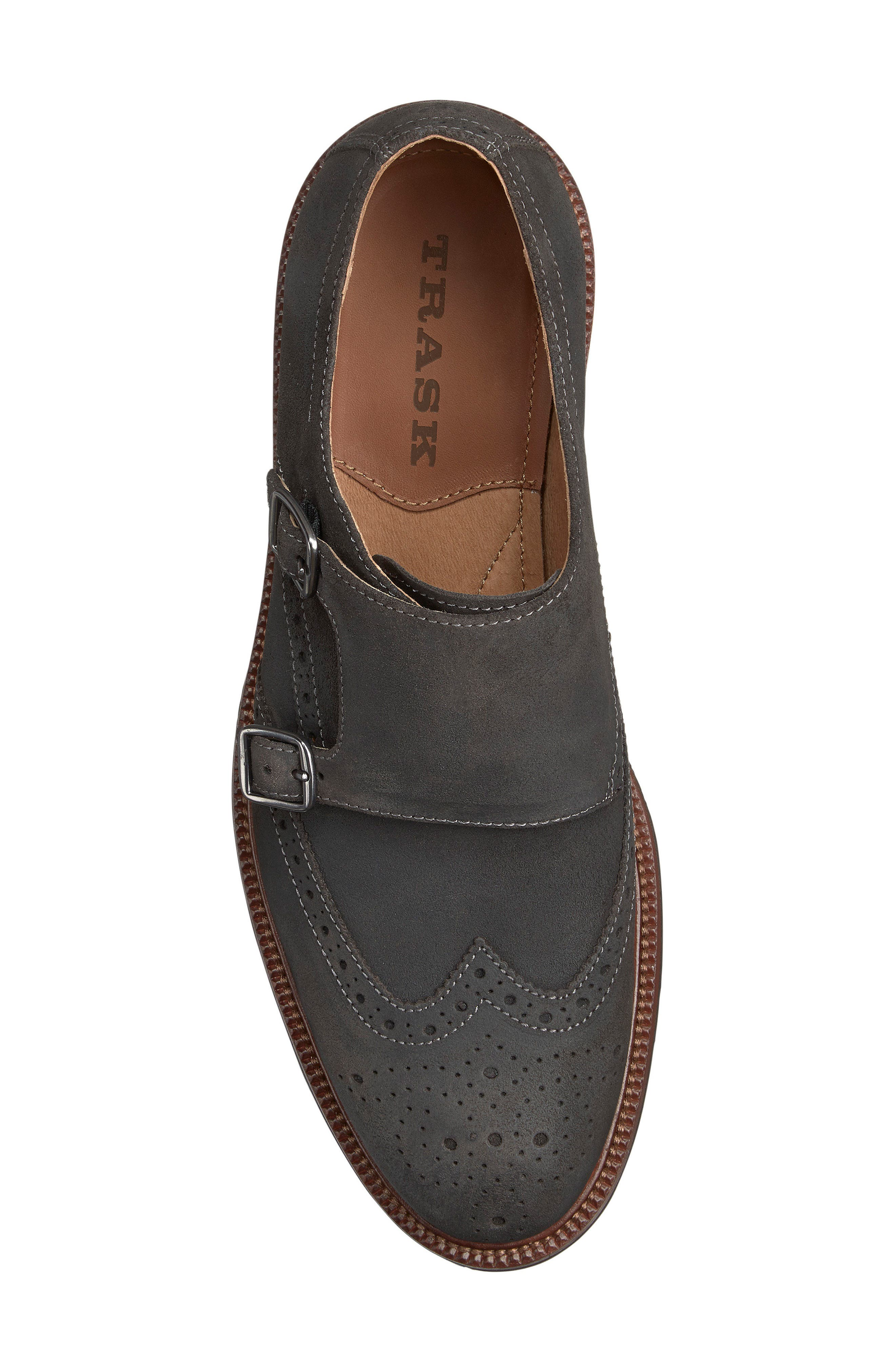 TRASK, Leland Double Monk Strap Shoe, Alternate thumbnail 3, color, GRAY WAXED SUEDE
