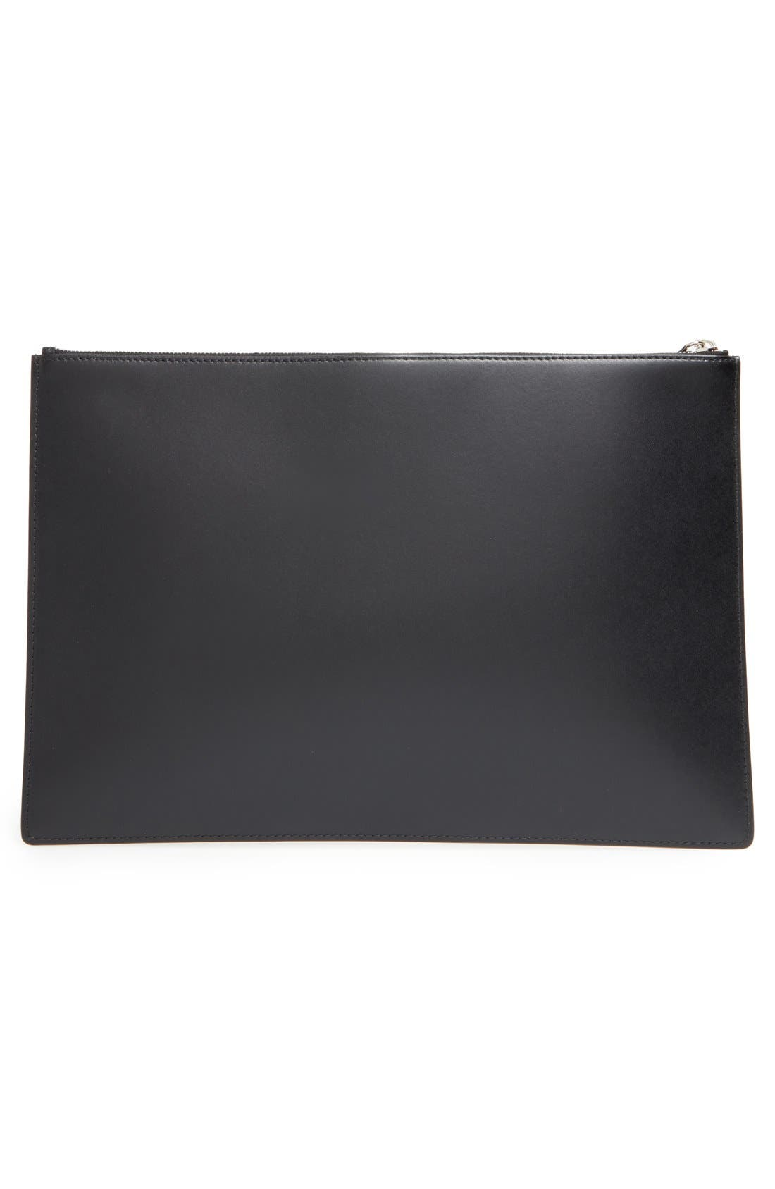 GIVENCHY, 'Large - I Feel Love' Calfskin Leather Pouch, Alternate thumbnail 6, color, 001