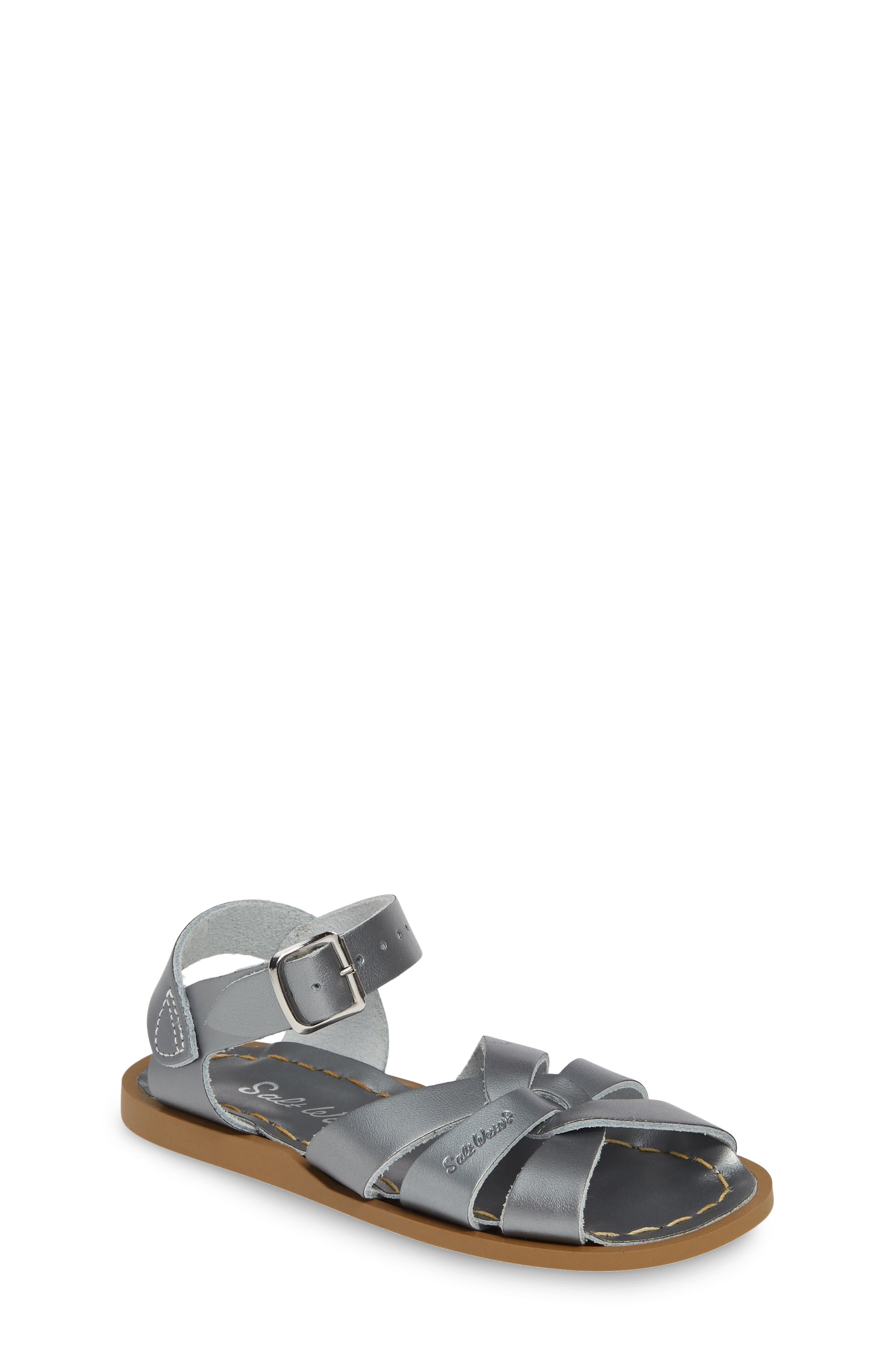 SALT WATER SANDALS BY HOY Water Friendly Sandal, Main, color, PEWTER