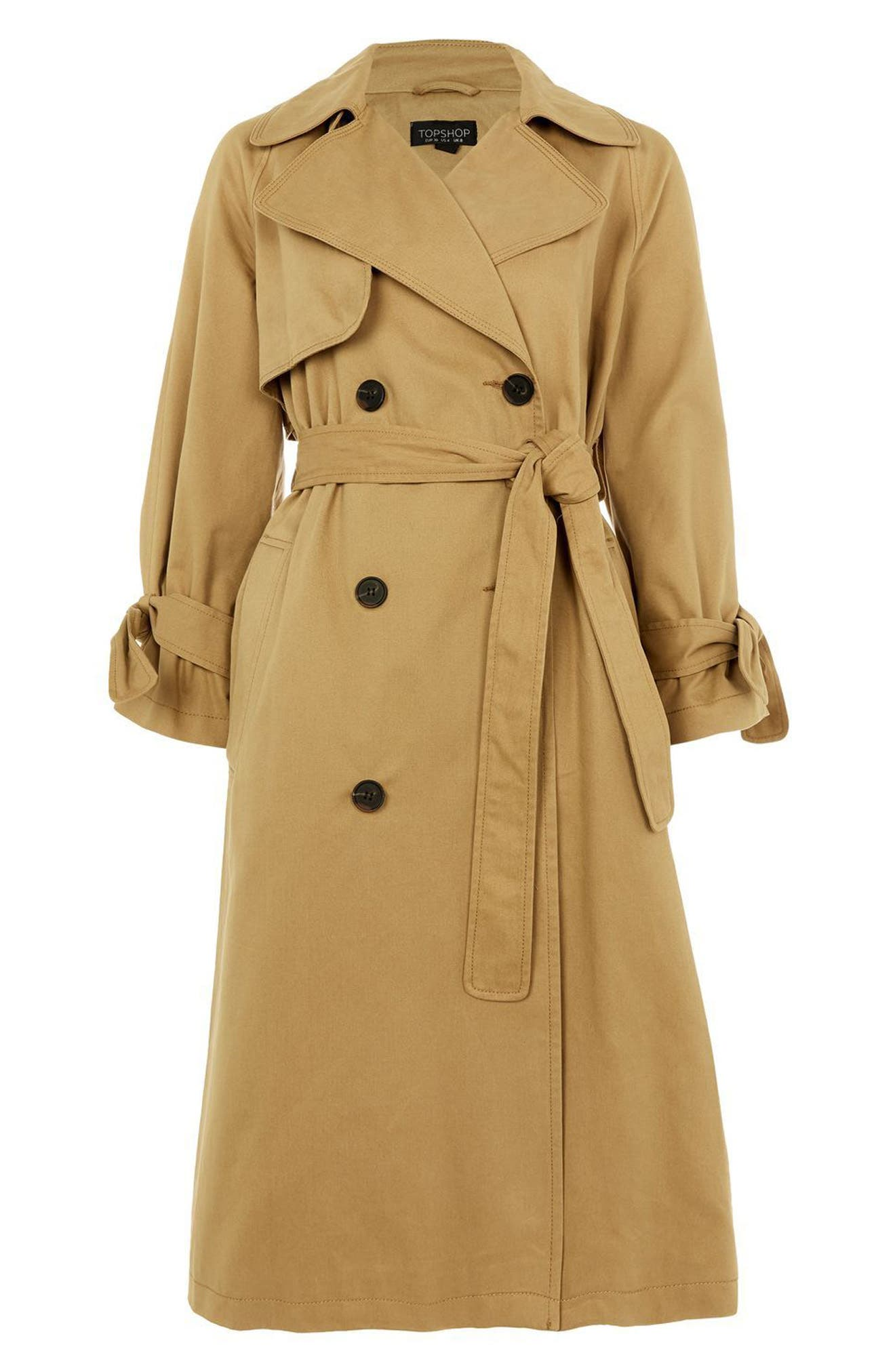 TOPSHOP, Editor's Double Breasted Trench Coat, Alternate thumbnail 3, color, 200