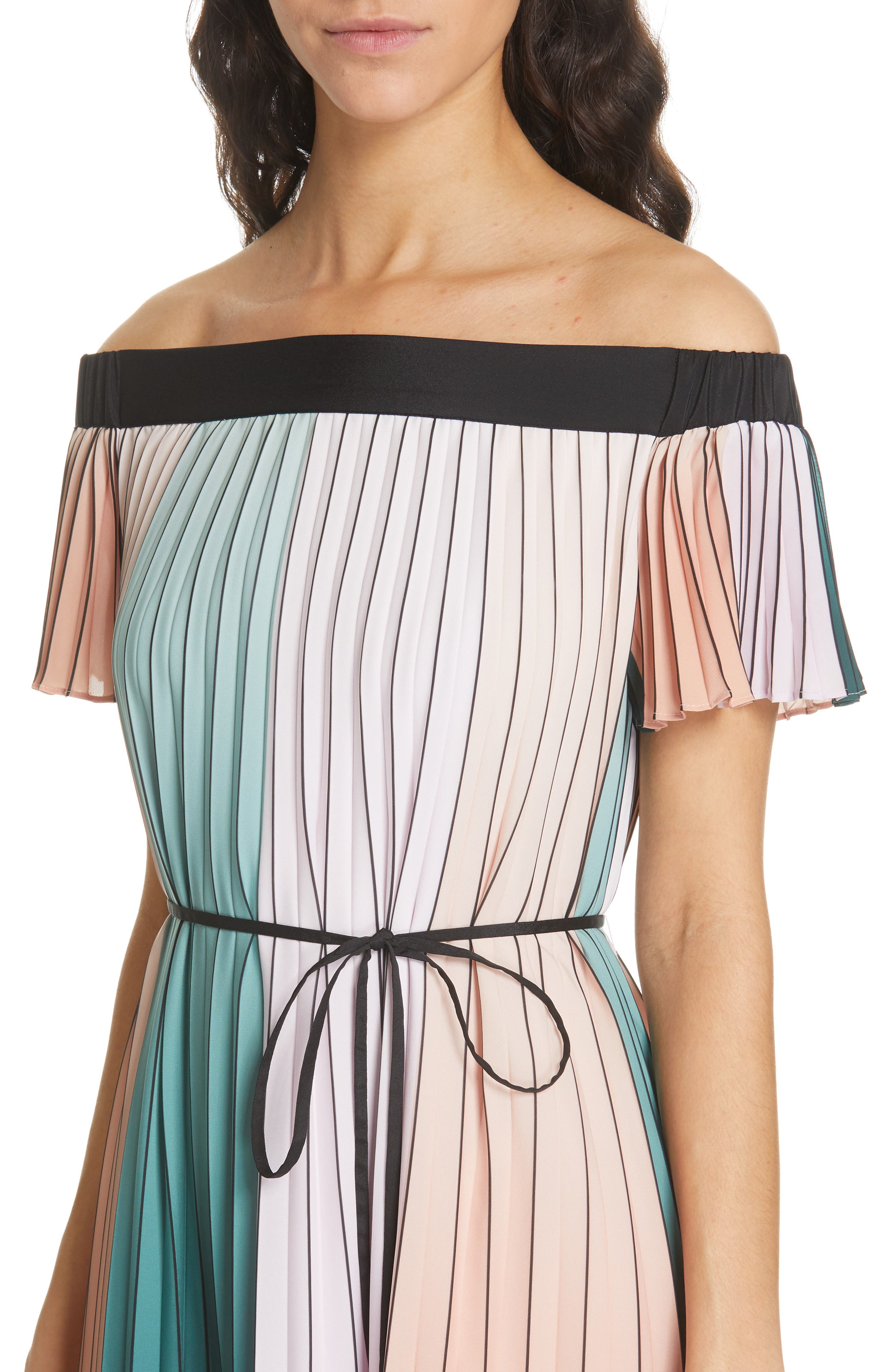 TED BAKER LONDON, Fernee Colorblock Pleated Dress, Alternate thumbnail 5, color, LILAC