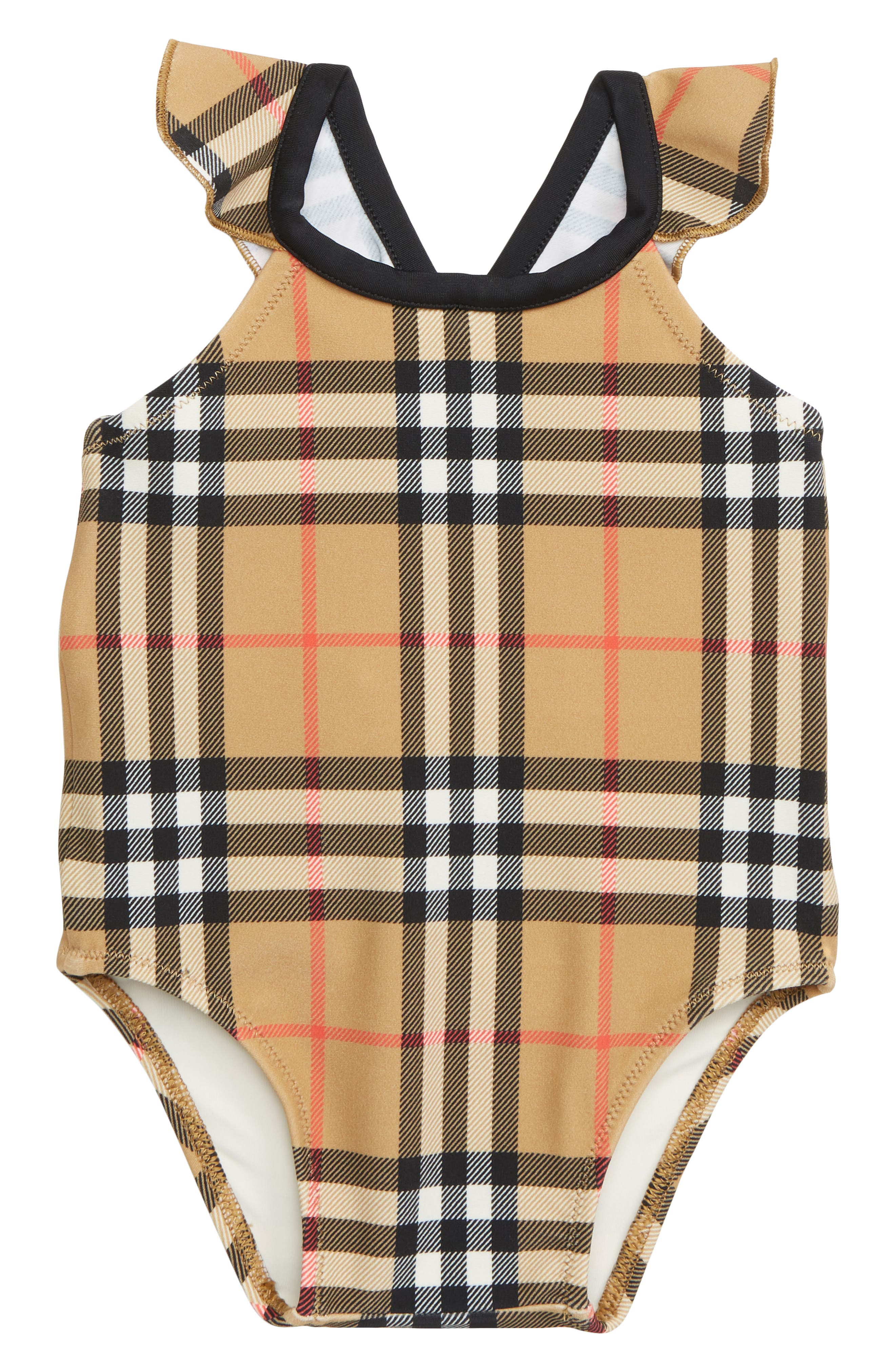 BURBERRY, Crina One-Piece Swimsuit, Main thumbnail 1, color, ANTIQUE YELLOW CHK