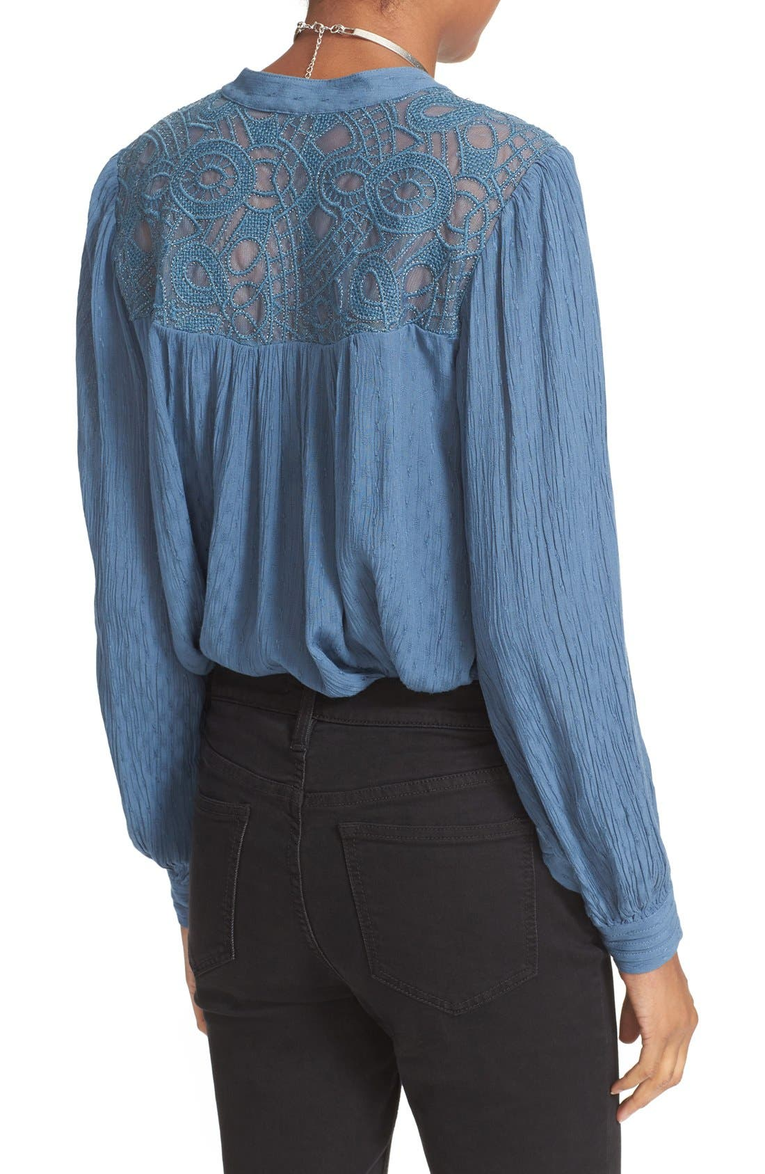 FREE PEOPLE, Canyon Rose Embroidered Yoke Blouse, Alternate thumbnail 3, color, 400