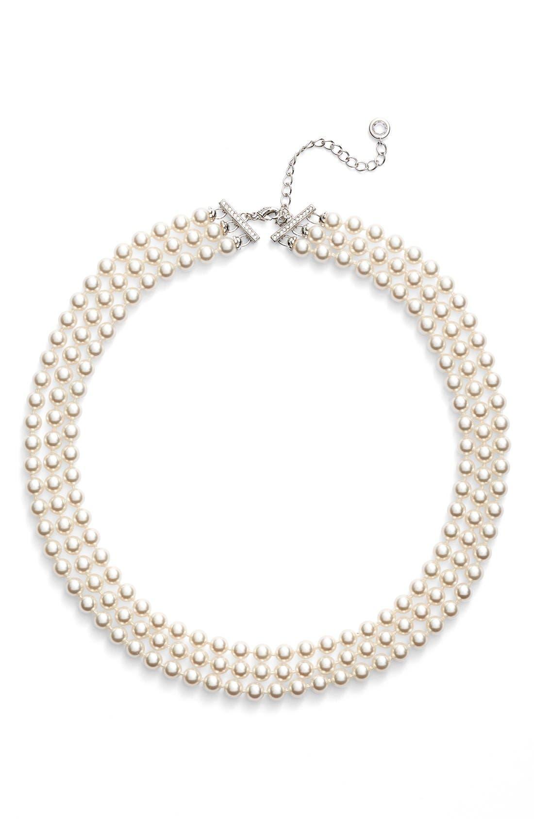 NADRI, Multistrand Imitation Pearl Necklace, Alternate thumbnail 2, color, IVORY