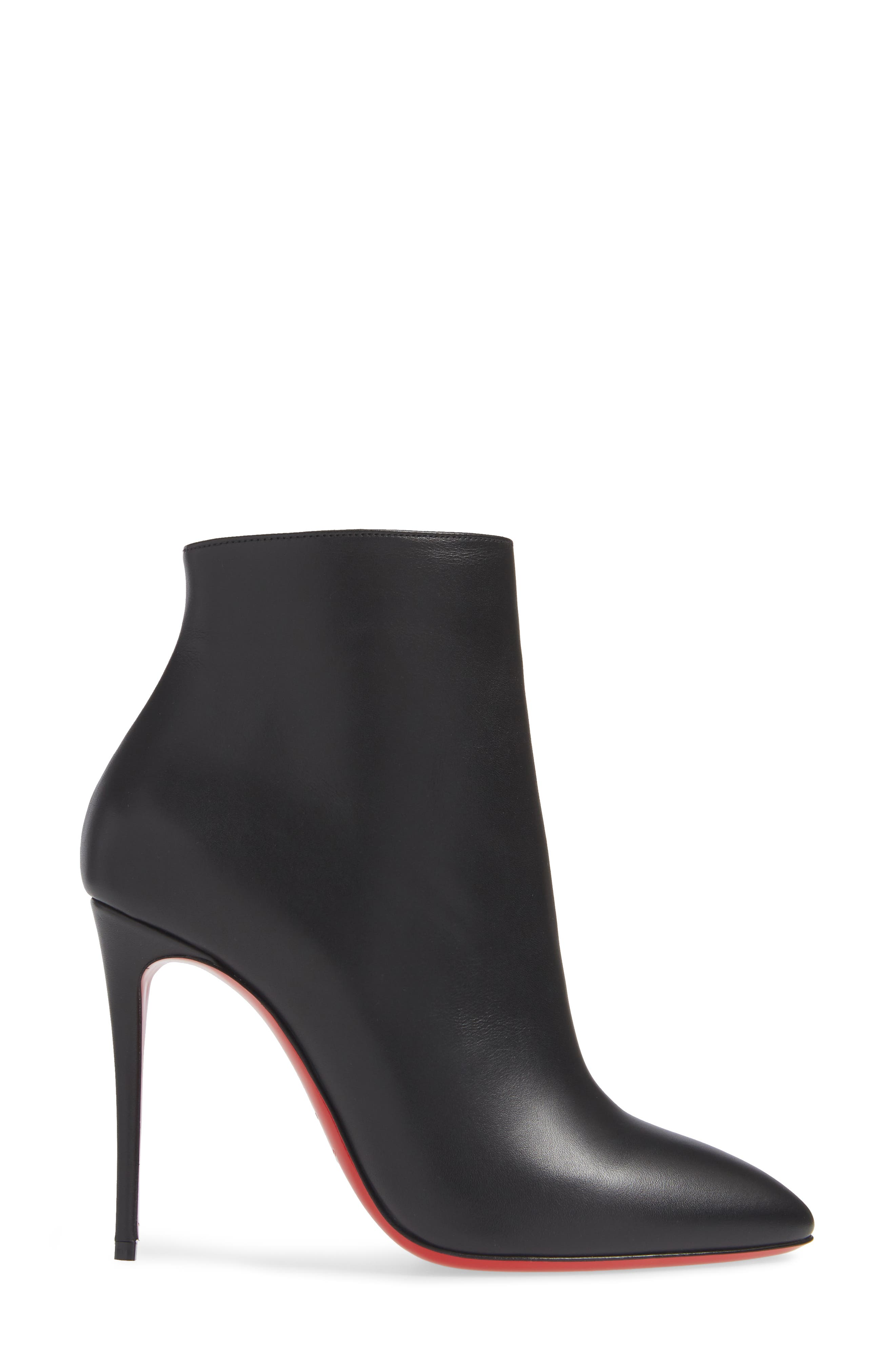 CHRISTIAN LOUBOUTIN, Eloise Pointy Toe Bootie, Alternate thumbnail 3, color, BLACK