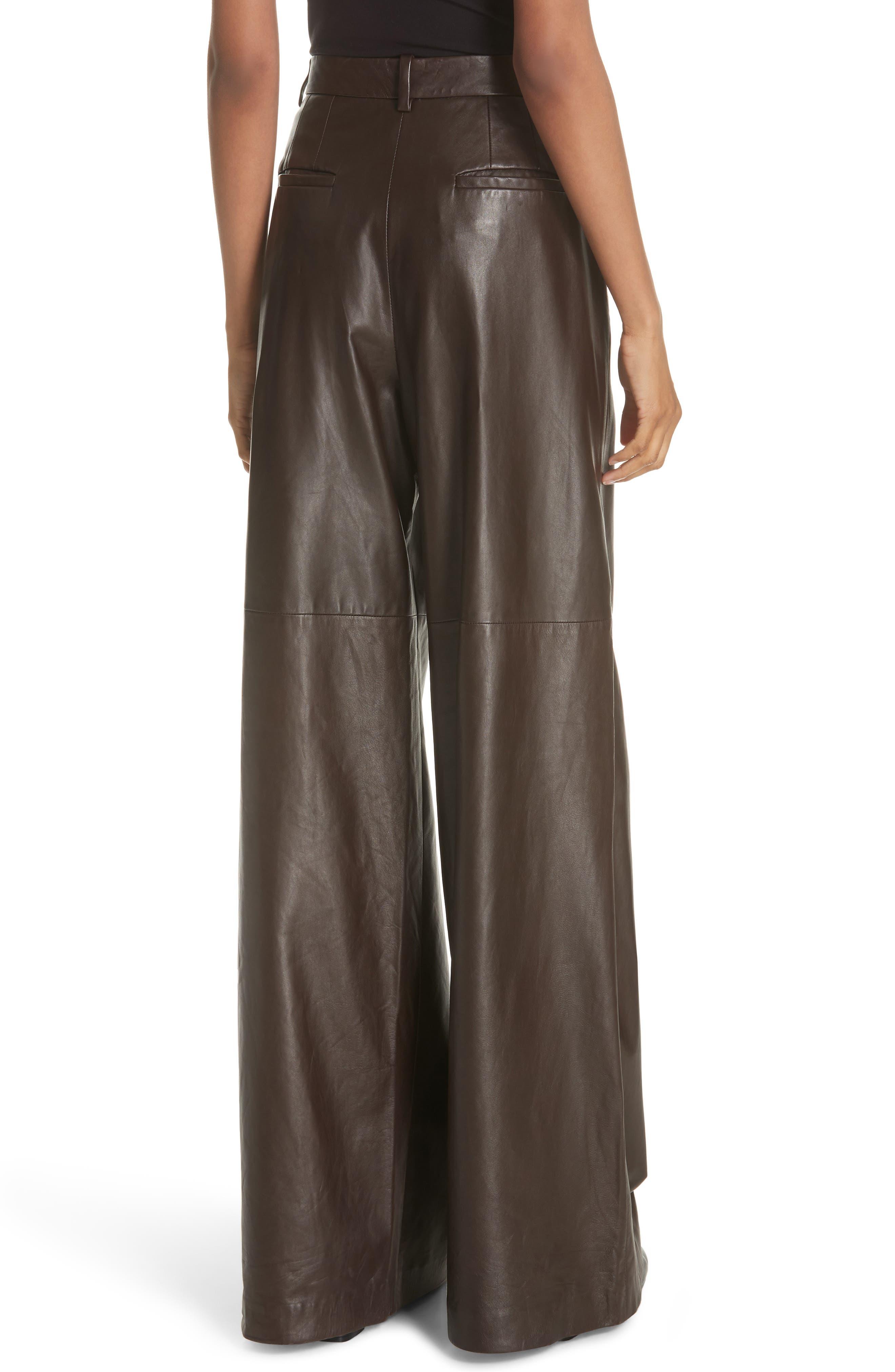NILI LOTAN, Nico Leather Pants, Alternate thumbnail 2, color, BROWN