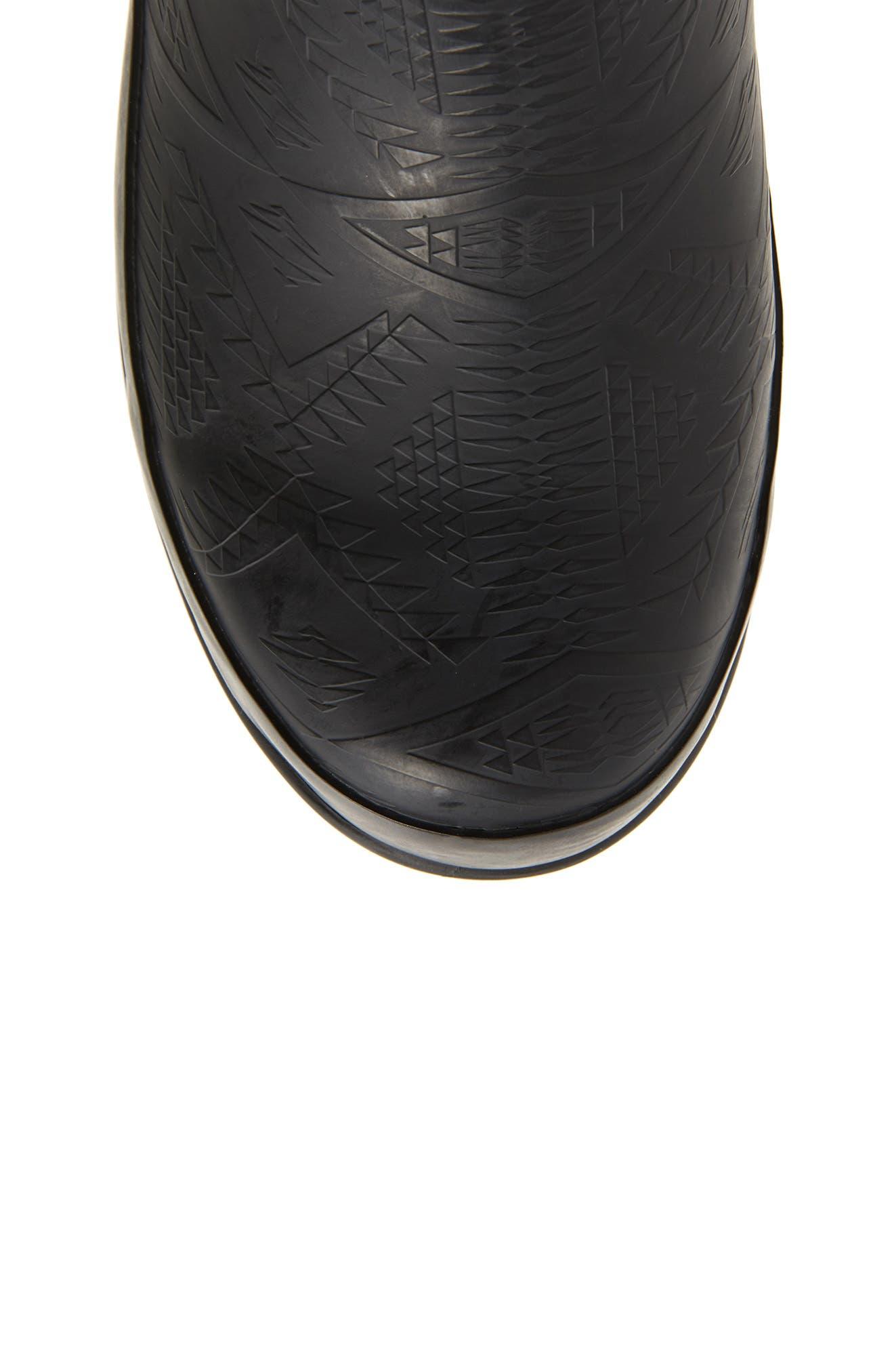 PENDLETON, Embossed Tall Waterproof Rain Boot, Alternate thumbnail 5, color, BLACK