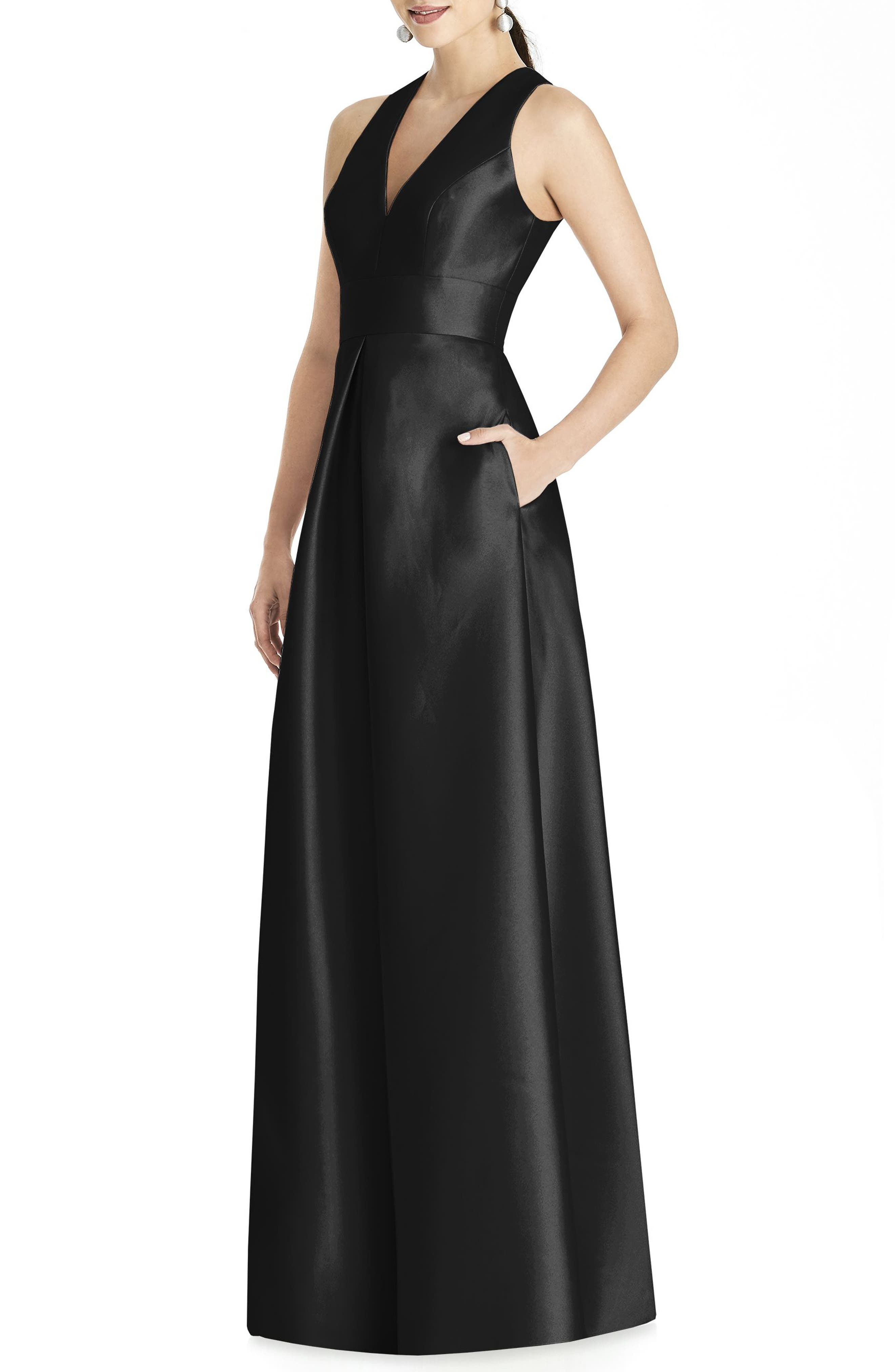 ALFRED SUNG, Sleeveless Sateen Gown, Main thumbnail 1, color, BLACK