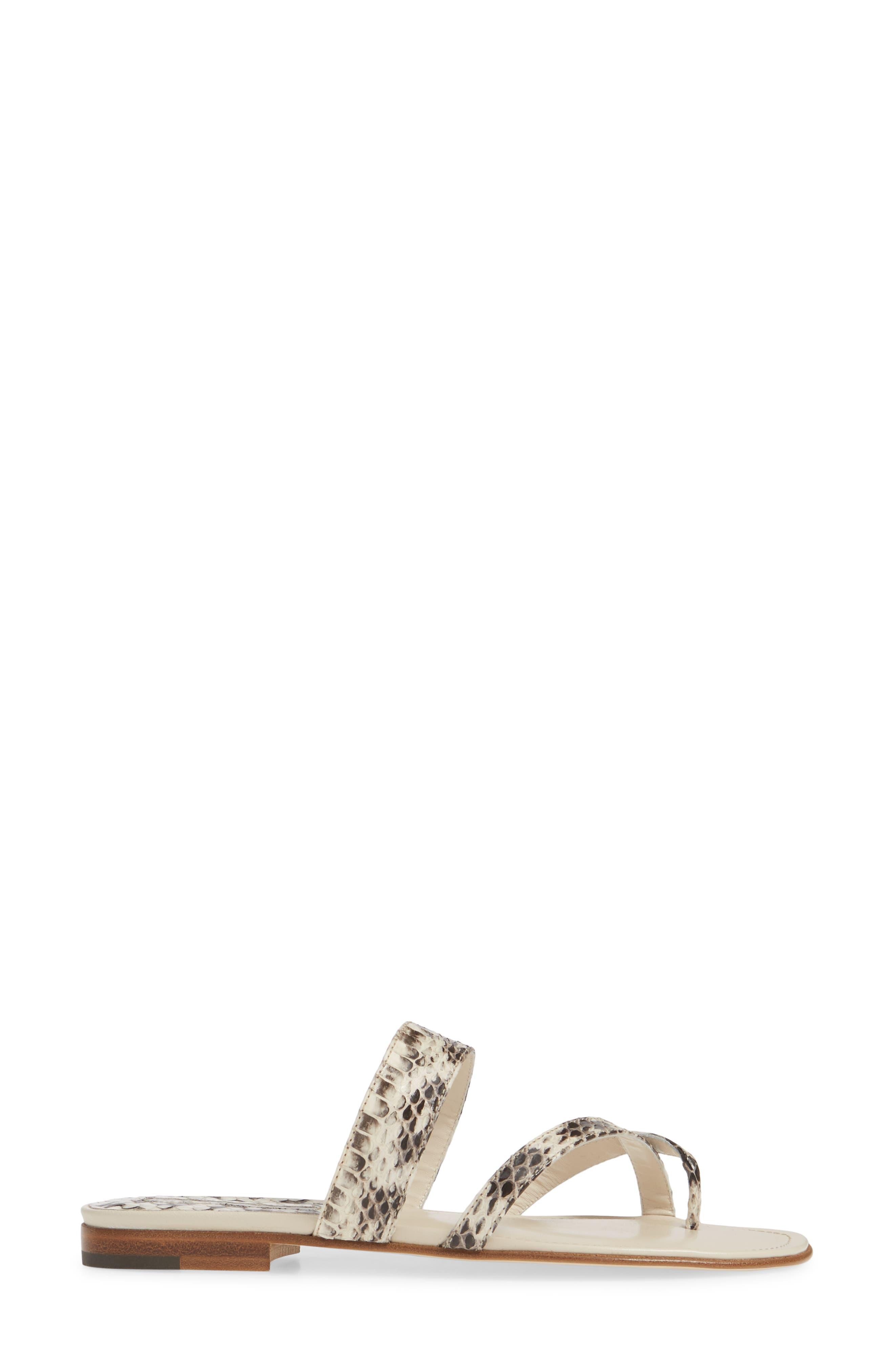 MANOLO BLAHNIK, 'Susa' Genuine Snakeskin Sandal, Alternate thumbnail 3, color, ROCCIA