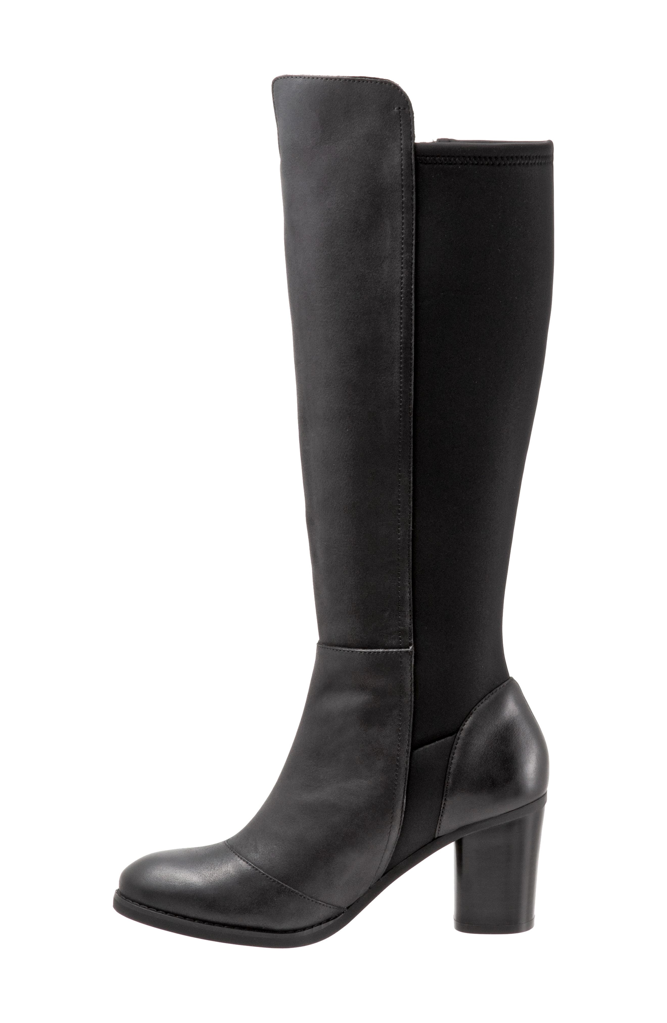 SOFTWALK<SUP>®</SUP>, Katia Knee High Boot, Alternate thumbnail 8, color, BLACK LEATHER