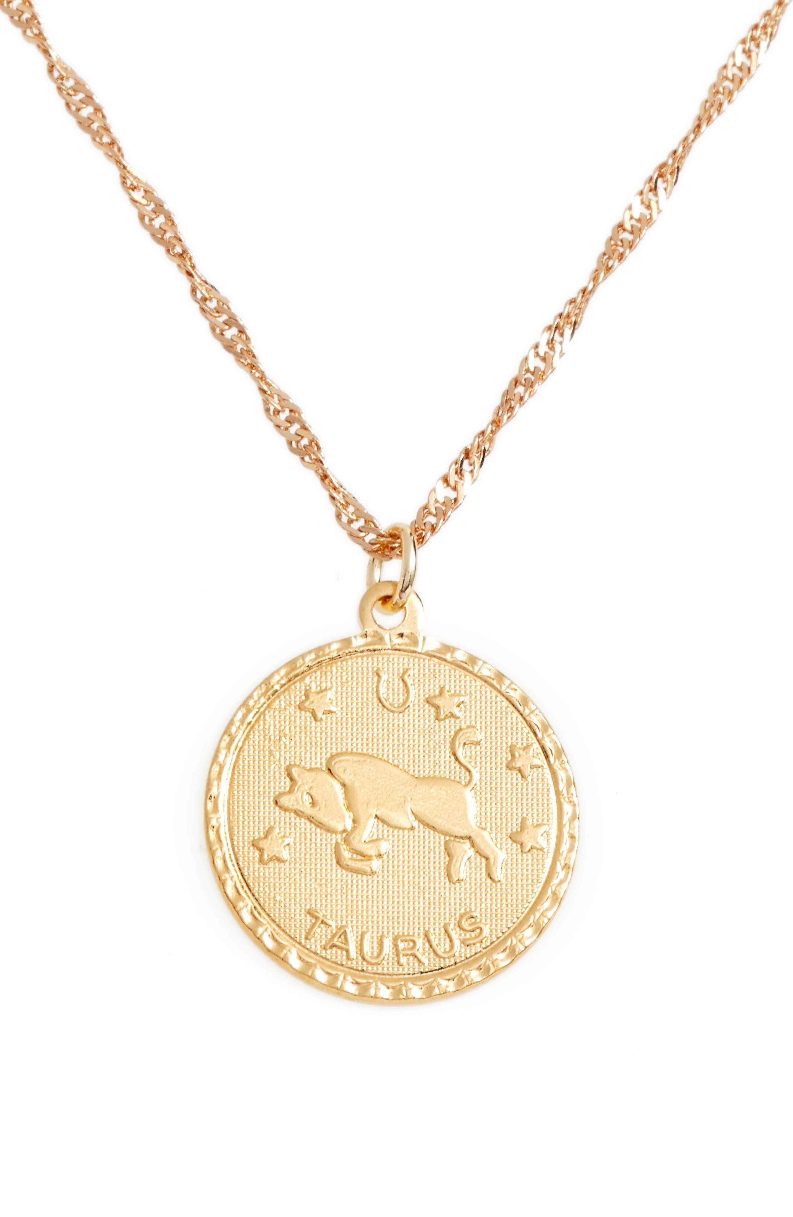 CAM, Jewelry Ascending Zodiac Medallion Necklace, Alternate thumbnail 2, color, TAURUS
