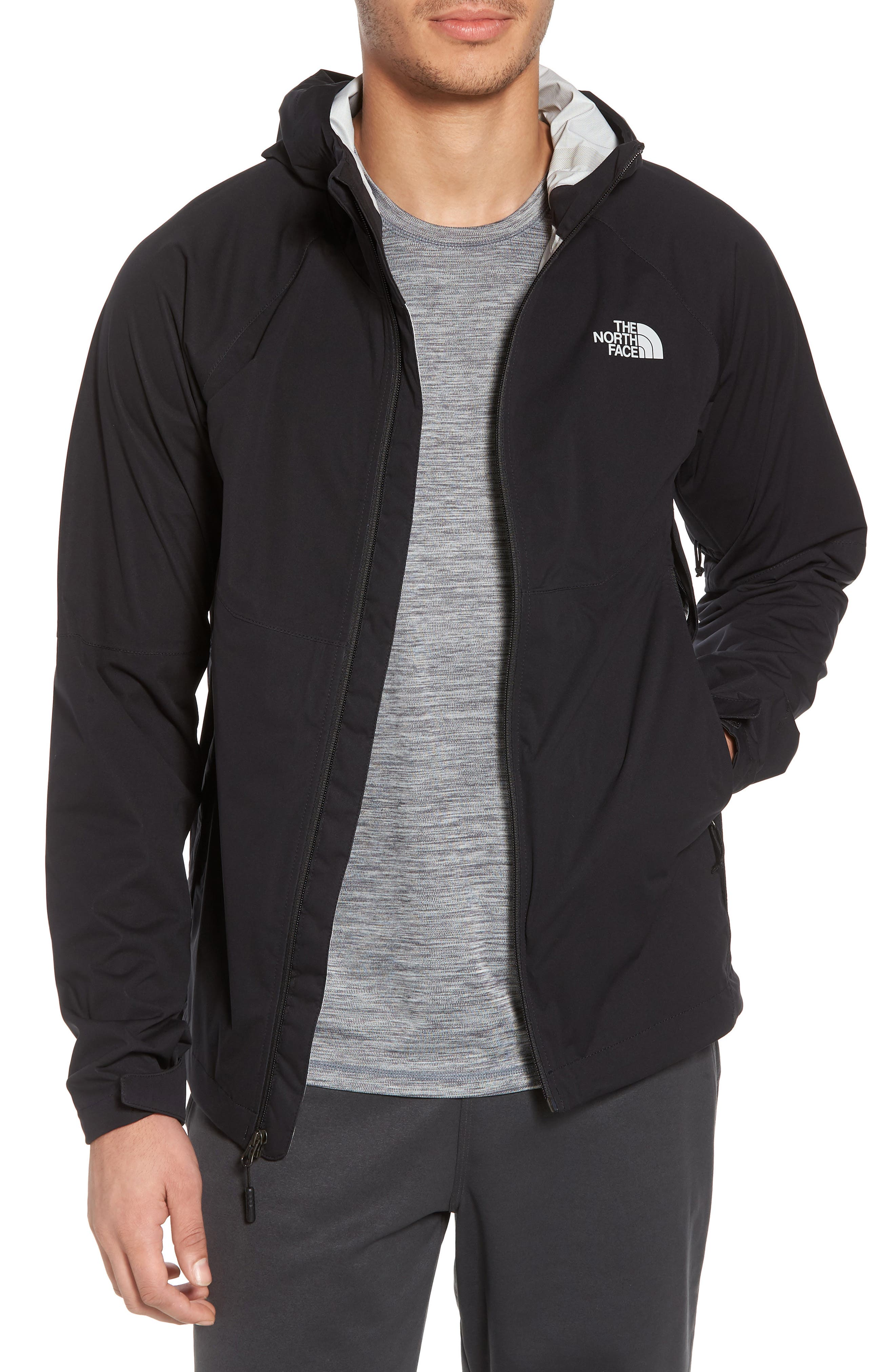 THE NORTH FACE, Allproof Stretch Hooded Rain Jacket, Main thumbnail 1, color, 001