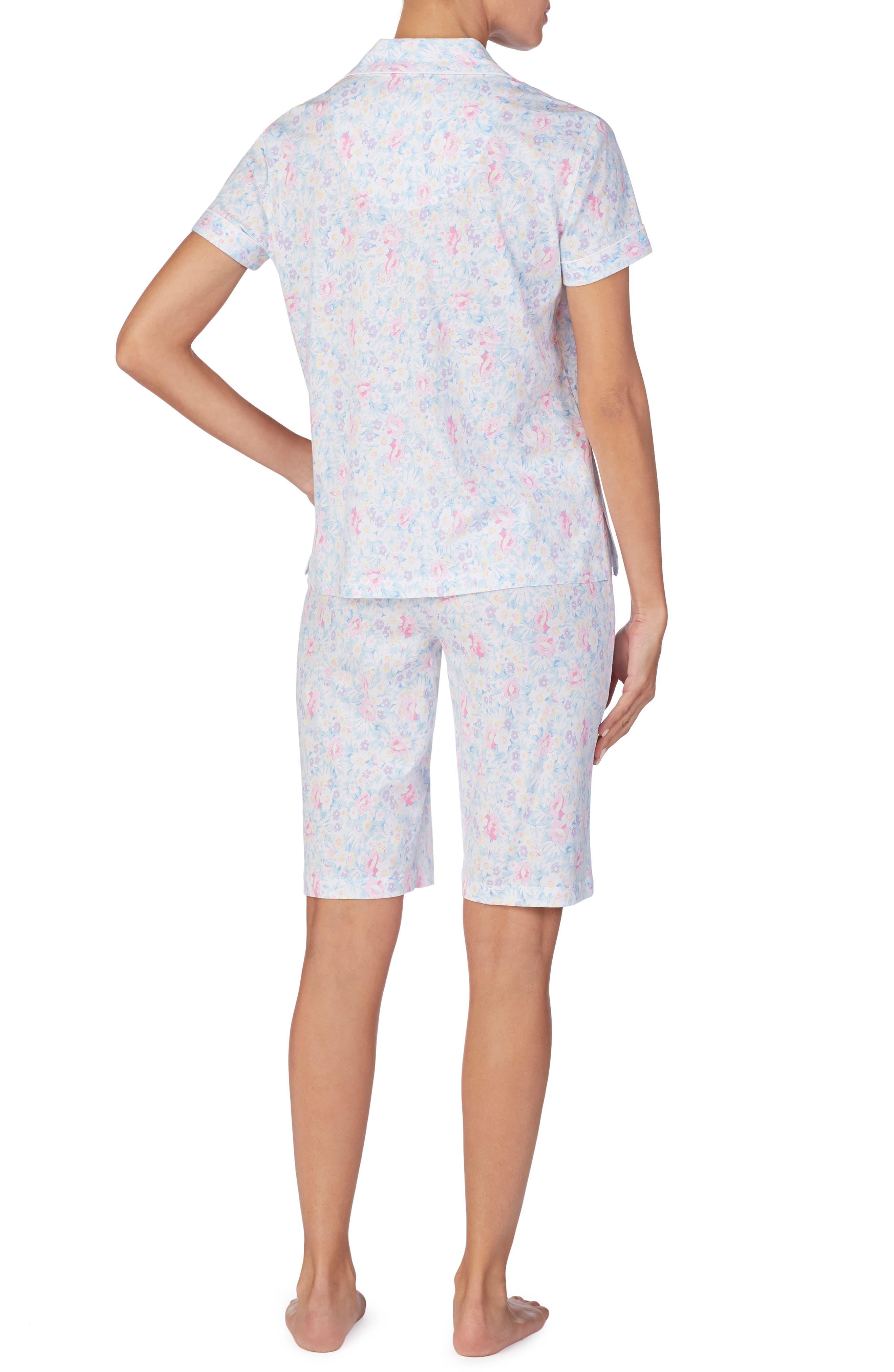 LAUREN RALPH LAUREN, Bermuda Shorts Pajamas, Alternate thumbnail 3, color, PINK FLORAL