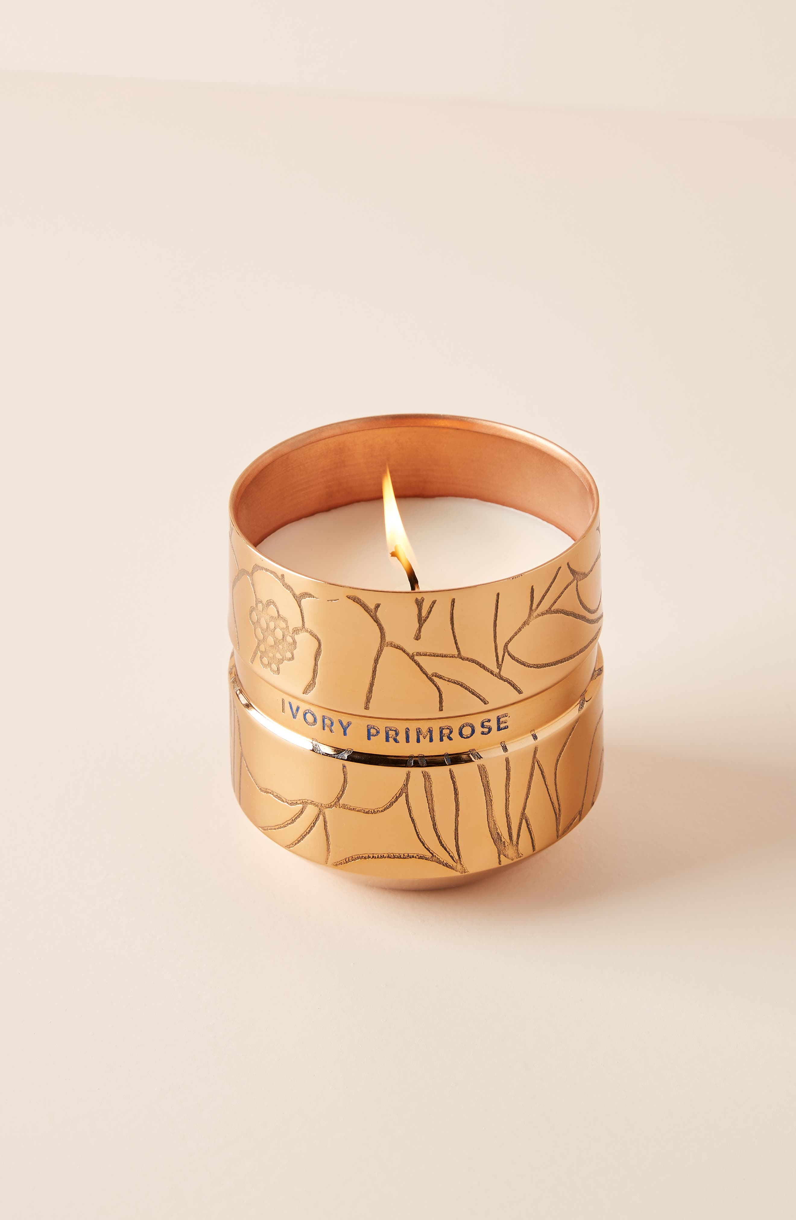 ANTHROPOLOGIE Ivory Primrose Flora Couture Candle, Main, color, IVORY PRIMROSE