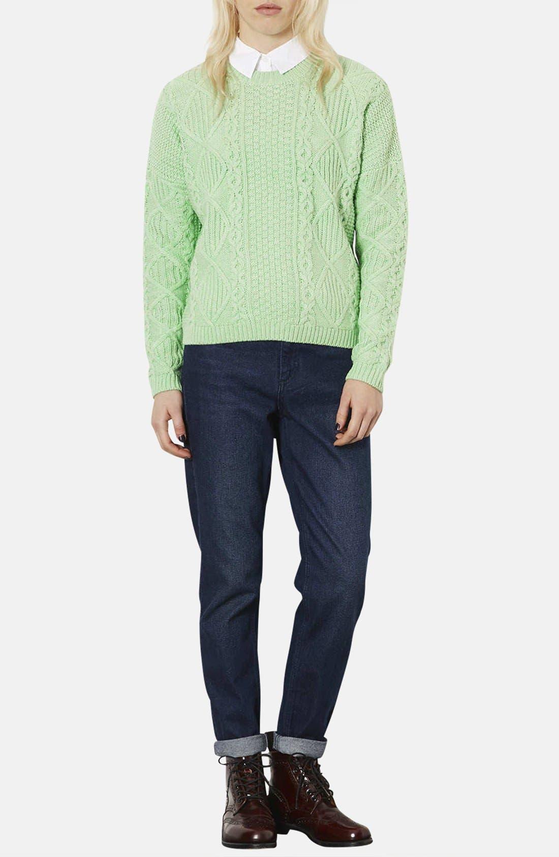 TOPSHOP, Crewneck Cable Knit Sweater, Alternate thumbnail 4, color, 340