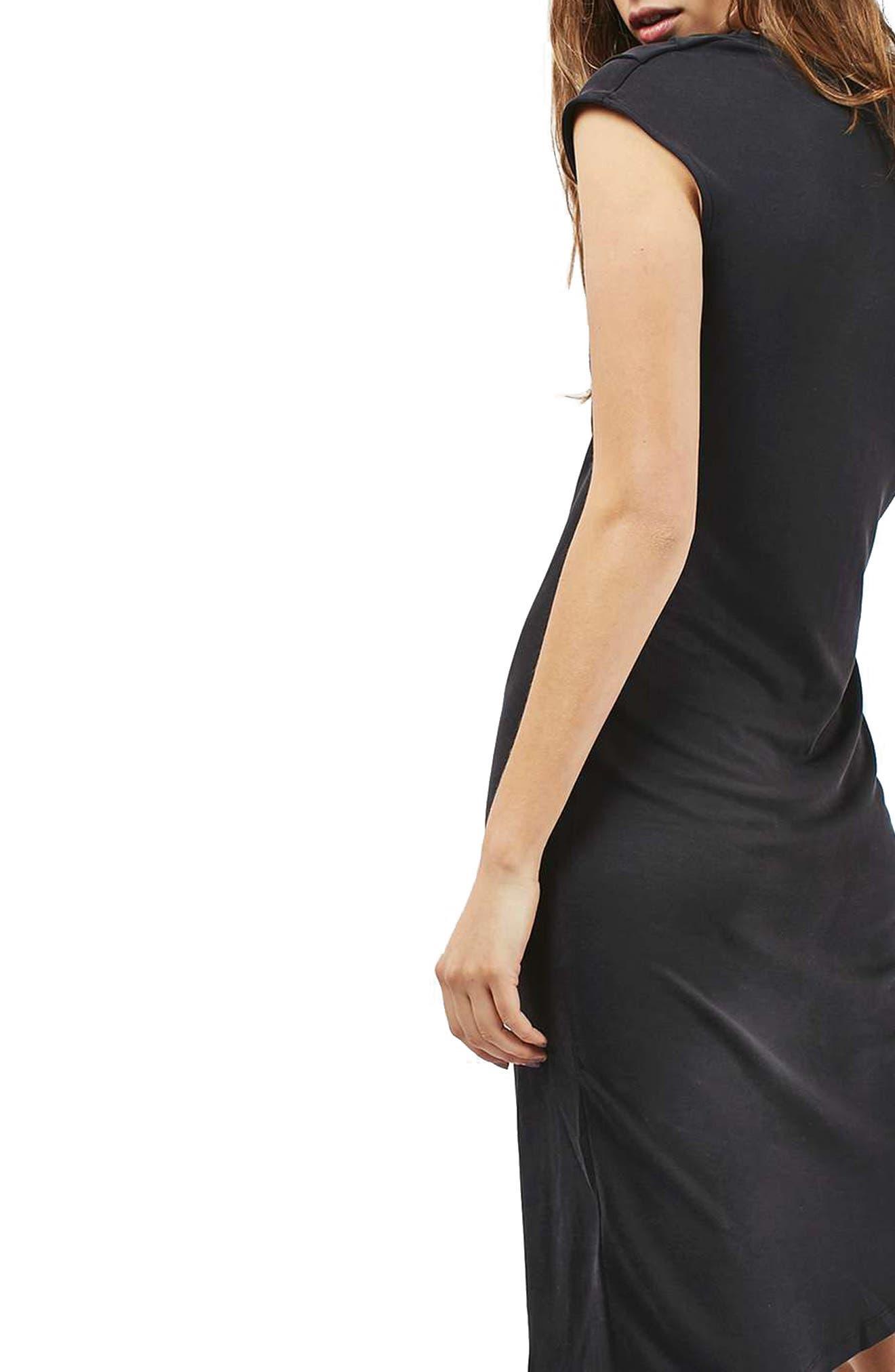 TOPSHOP, Asymmetric Slinky Drape Dress, Main thumbnail 1, color, 001