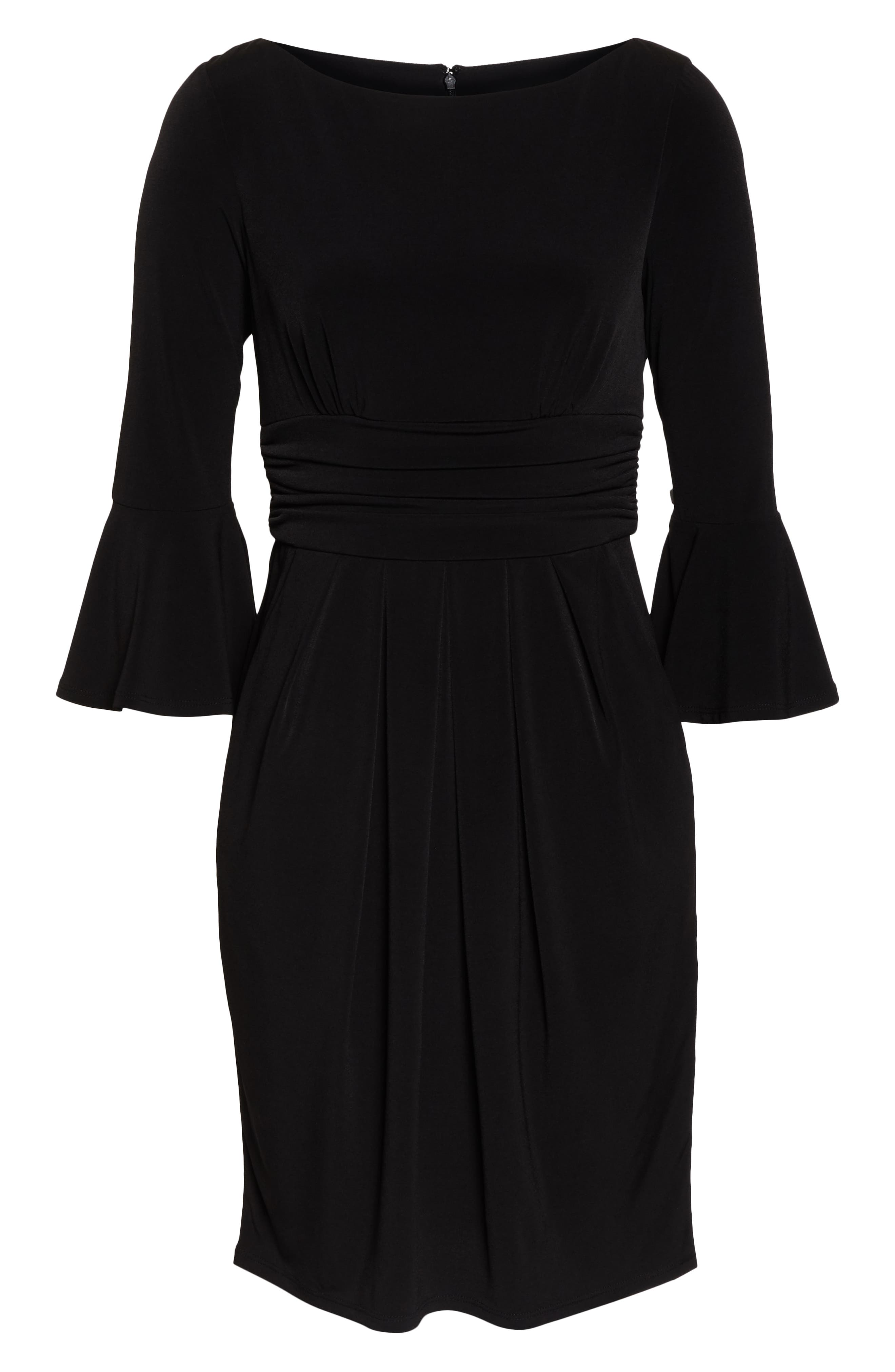 ELIZA J, Bell Sleeve Knit Sheath Dress, Alternate thumbnail 7, color, BLACK
