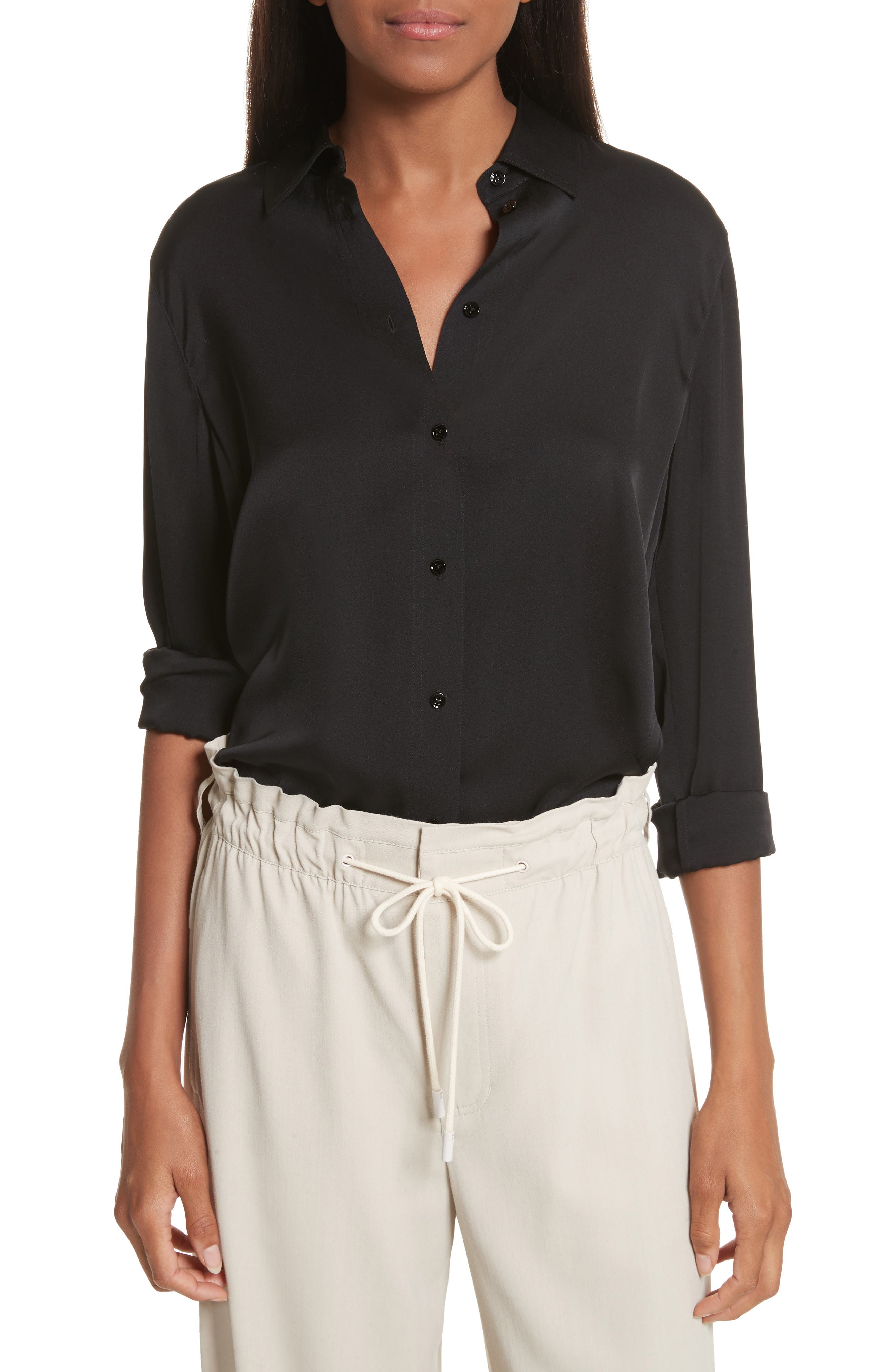VINCE Slim Silk Blouse, Main, color, BLACK