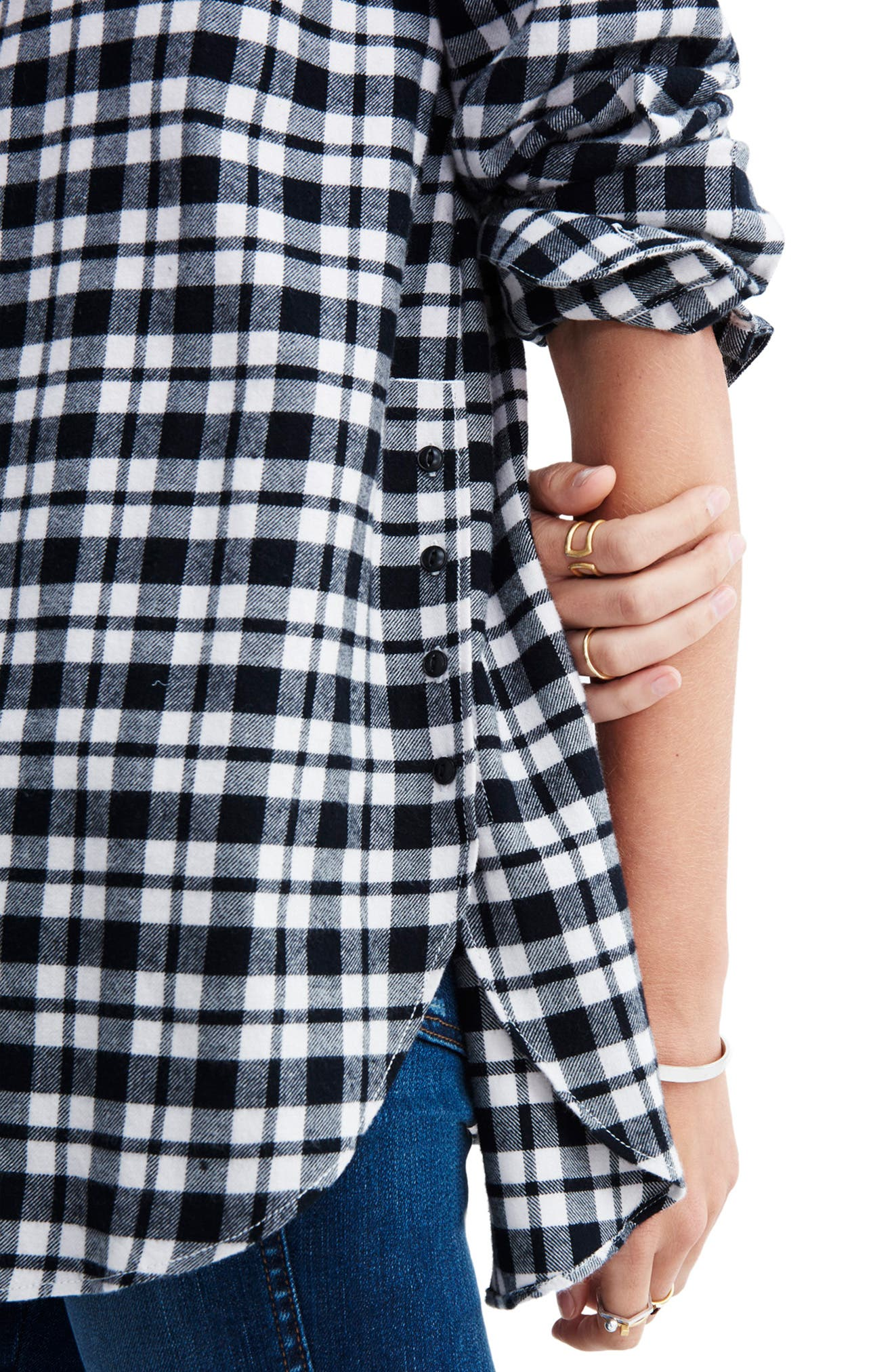 MADEWELL, Oversize Flannel Shirt, Alternate thumbnail 4, color, 002