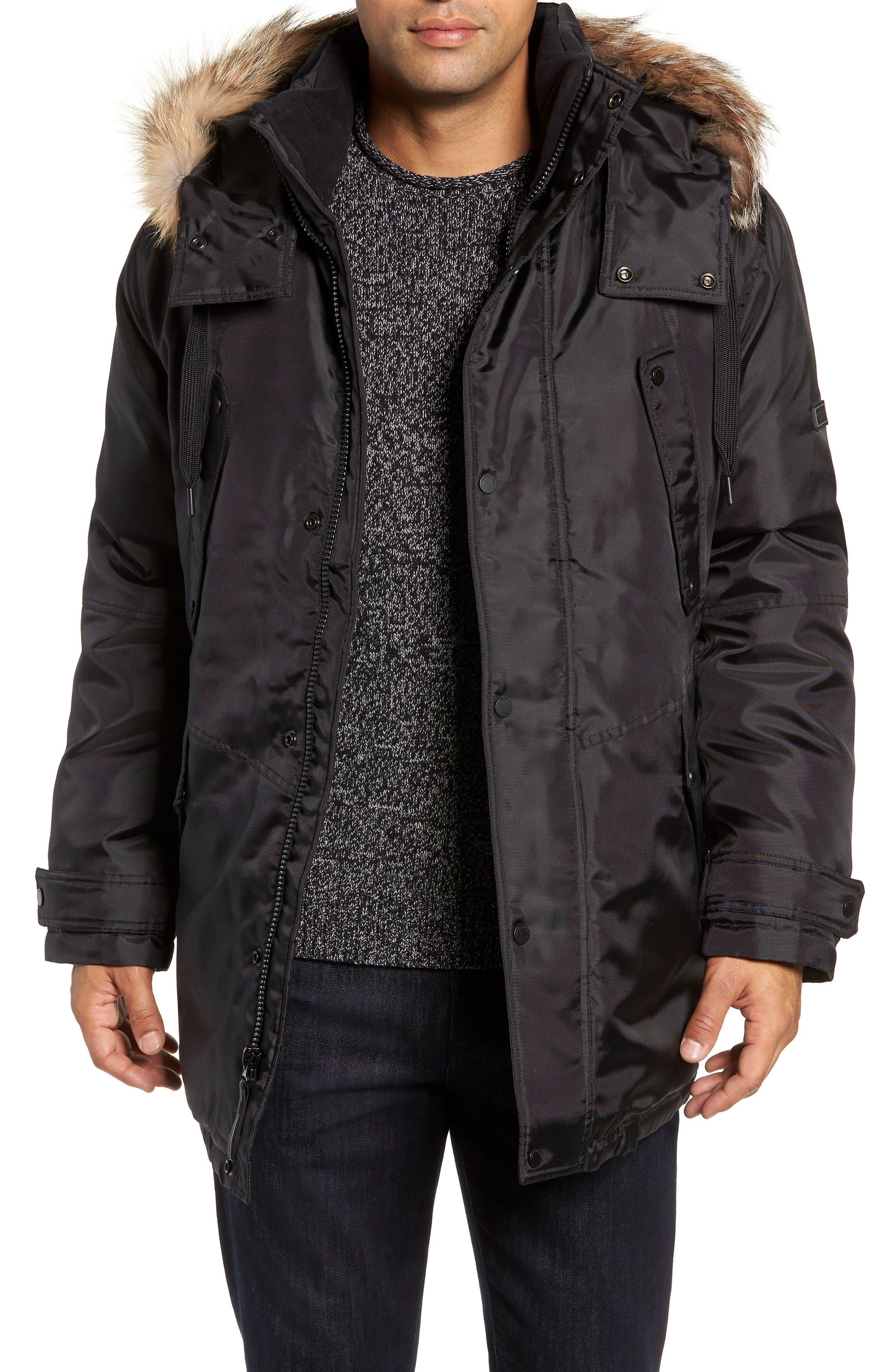 MARC NEW YORK, Lafayette Genuine Fur Trim Hooded Parka, Main thumbnail 1, color, BLACK