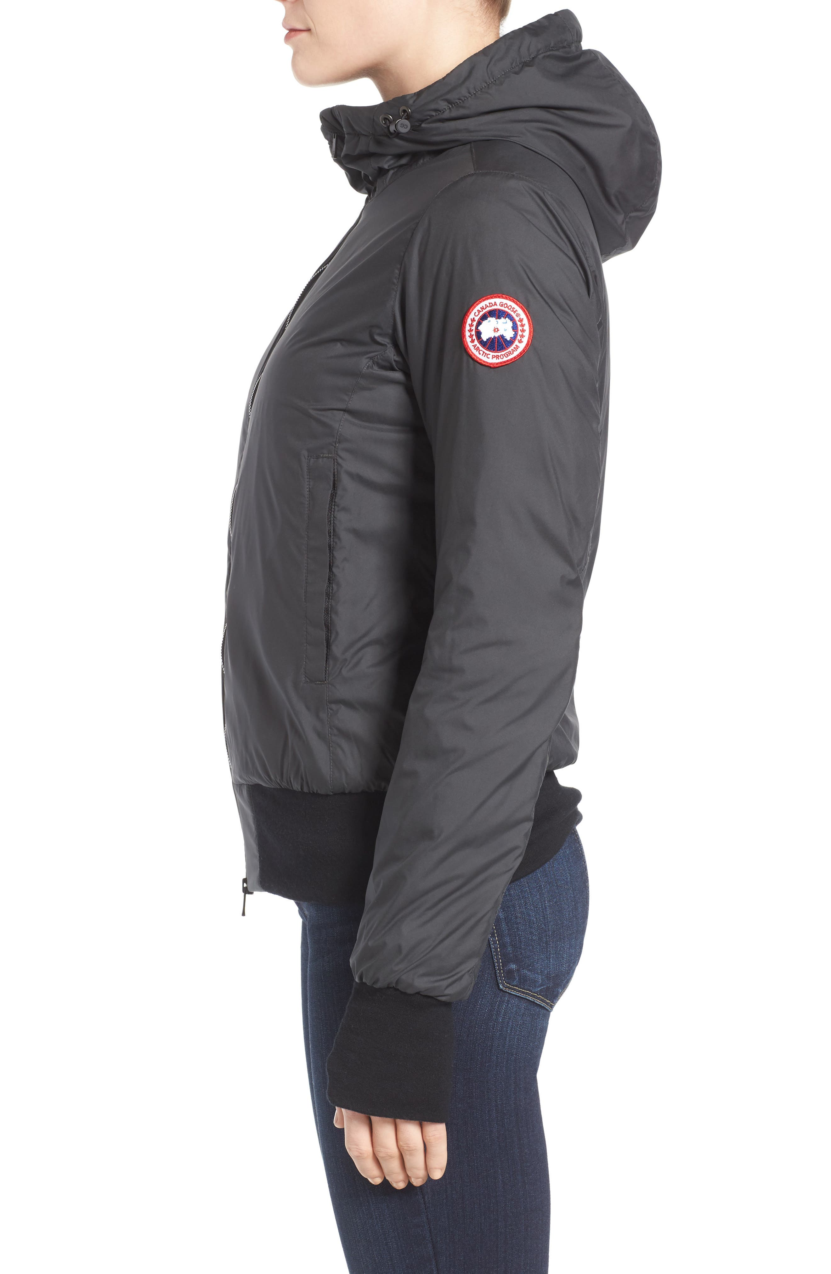 CANADA GOOSE, Dore Goose Down Hooded Jacket, Alternate thumbnail 4, color, BLACK