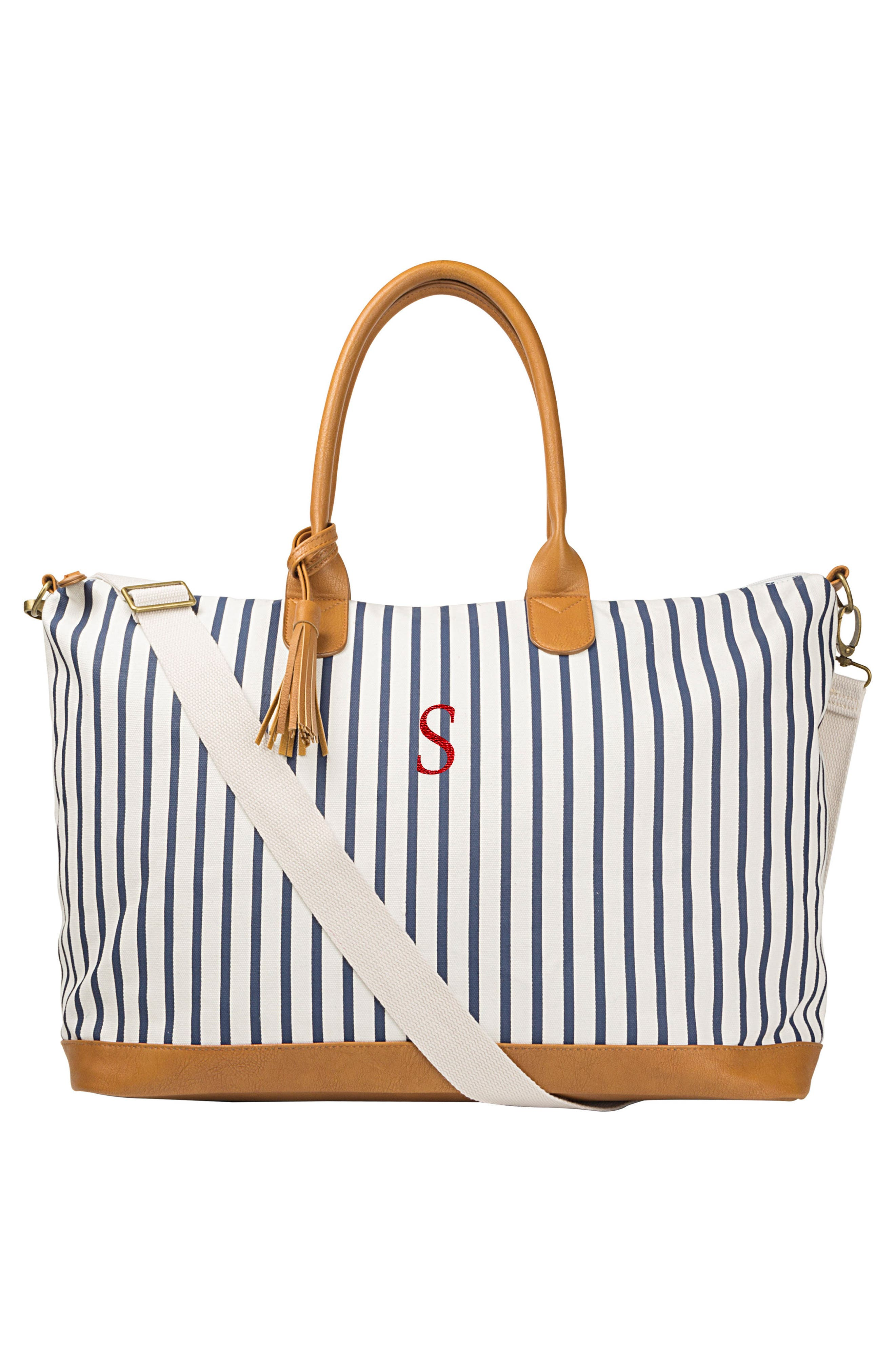 CATHY'S CONCEPTS, Monogram Oversized Tote, Alternate thumbnail 5, color, BLUE