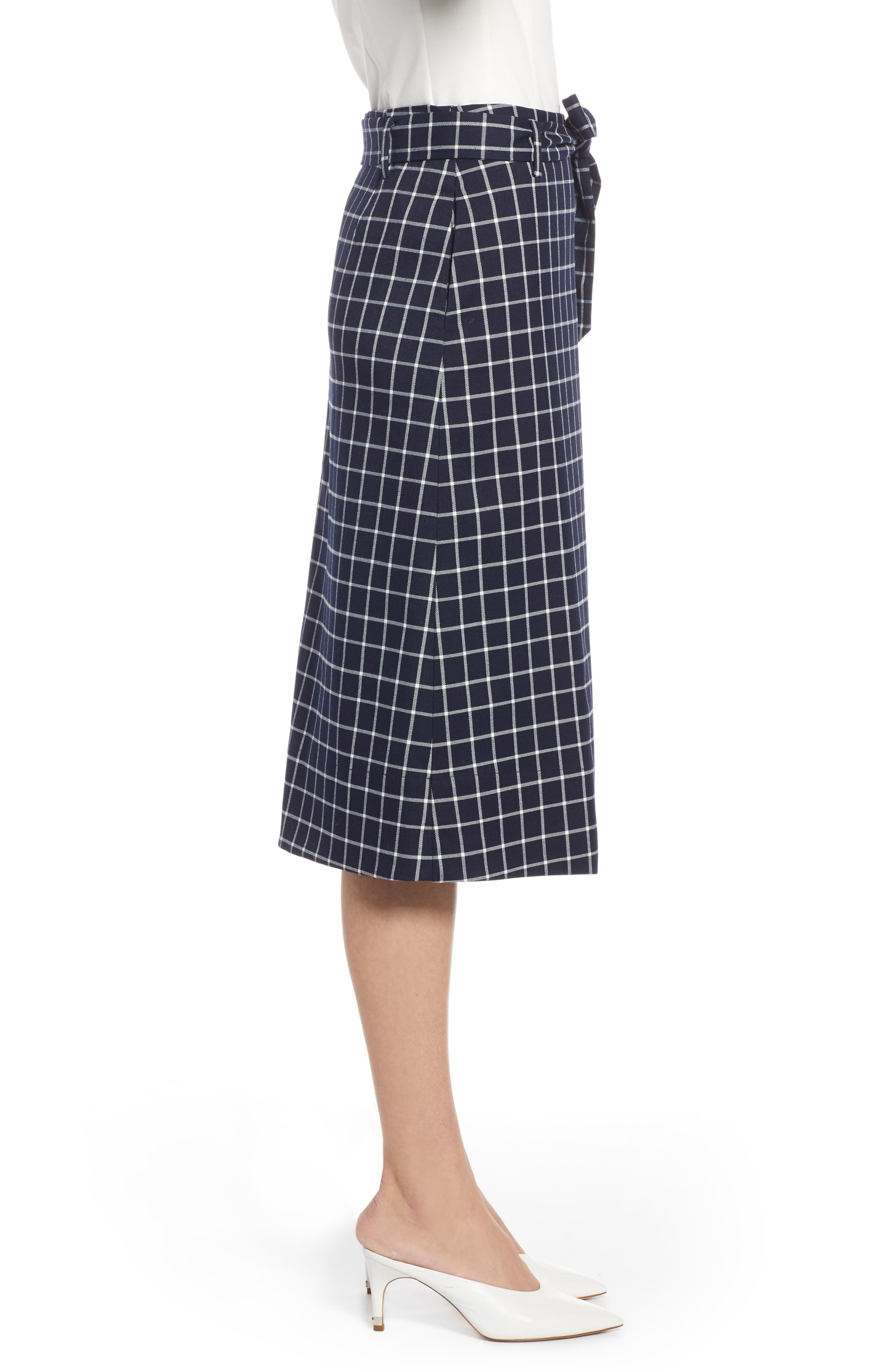 HALOGEN<SUP>®</SUP>, Tie Waist Check Skirt, Alternate thumbnail 3, color, NAVY CHECK