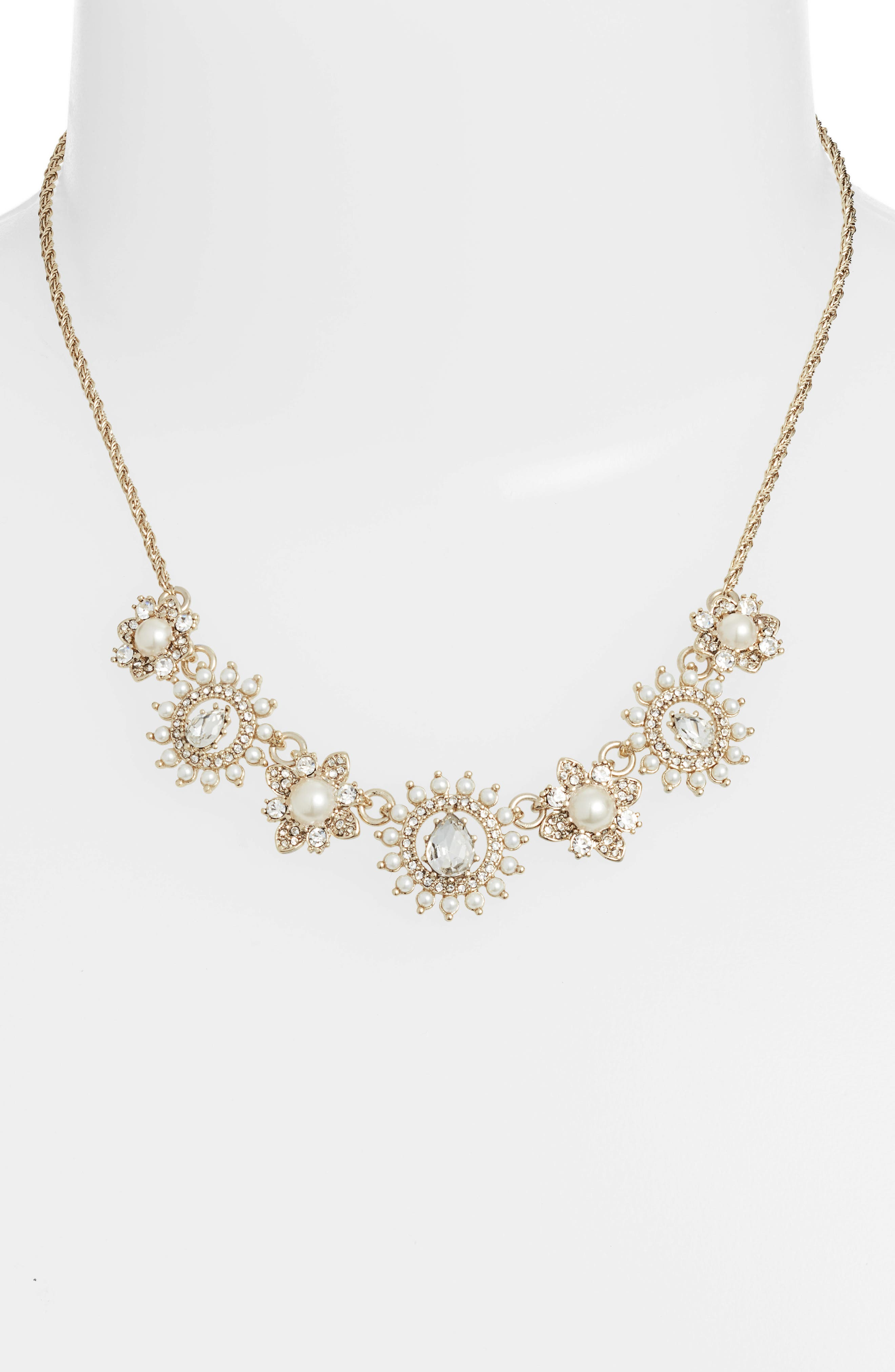 MARCHESA, Frontal Necklace, Alternate thumbnail 2, color, GOLD/ WHITE/ CRYSTAL