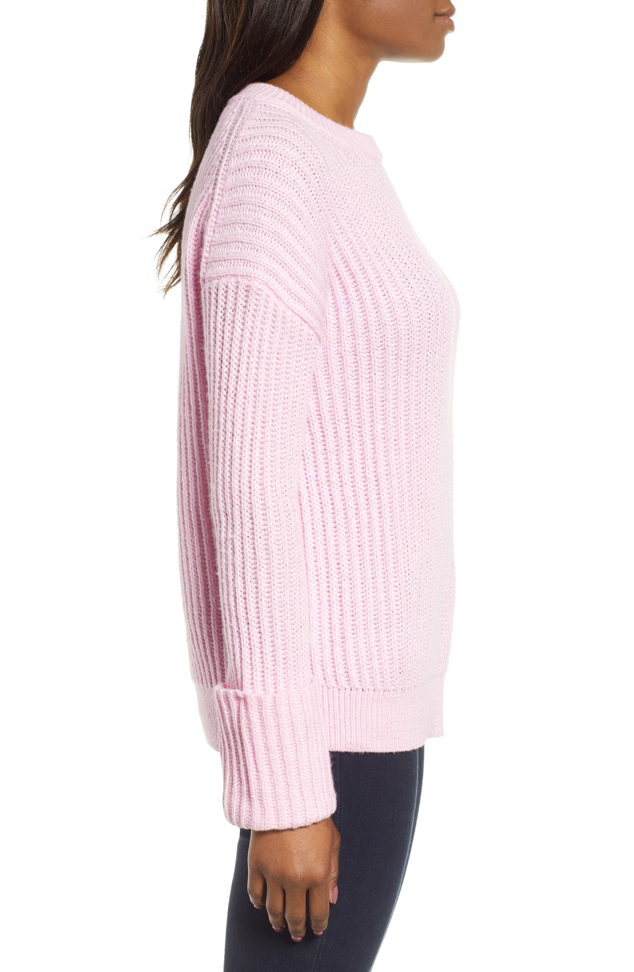 CASLON<SUP>®</SUP>, Cuffed Sleeve Shaker Sweater, Alternate thumbnail 3, color, PINK FLOWER