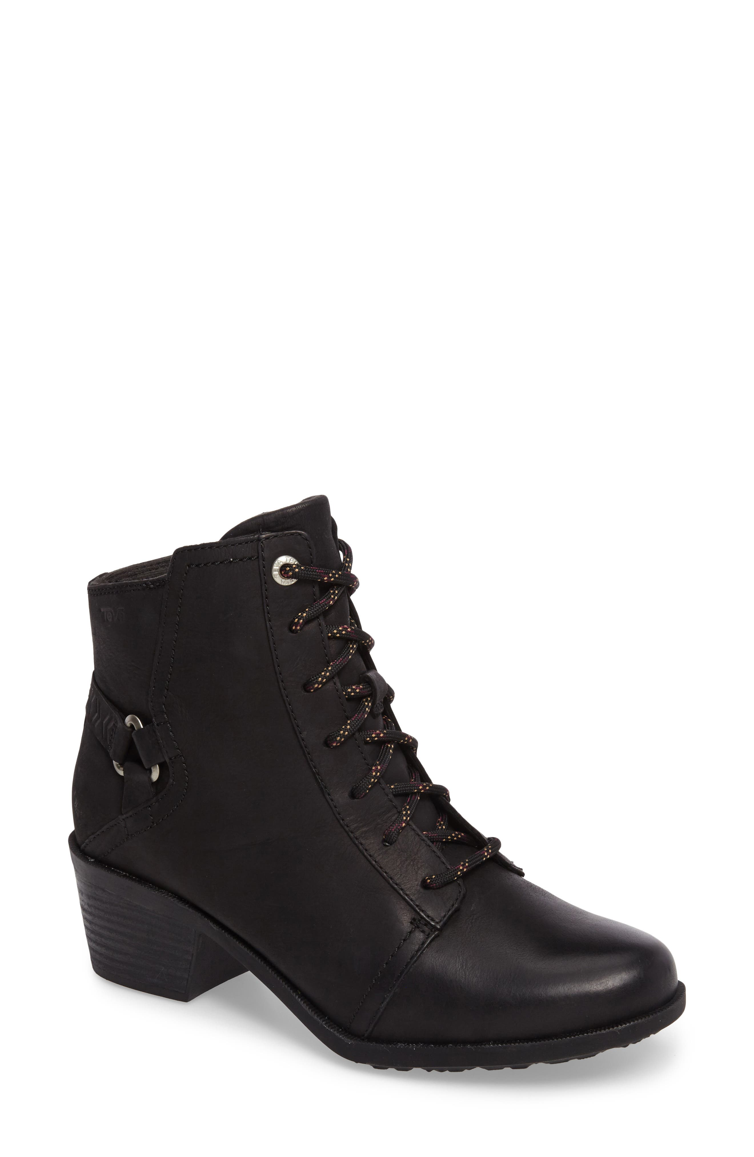 TEVA, Foxy Lace-Up Waterproof Boot, Main thumbnail 1, color, BLACK LEATHER