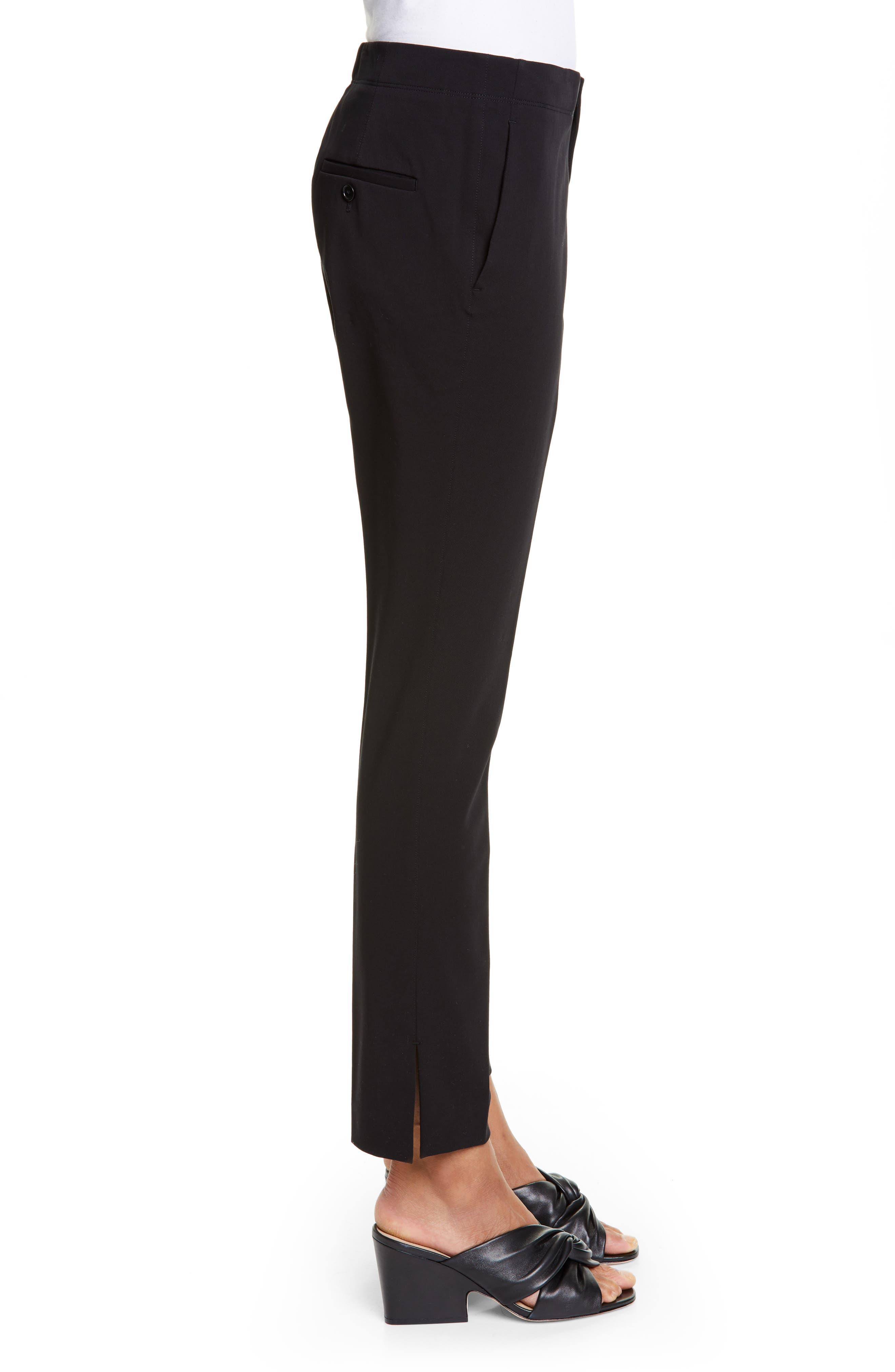 HELMUT LANG, Stretch Cotton Slim Trousers, Alternate thumbnail 3, color, BLACK