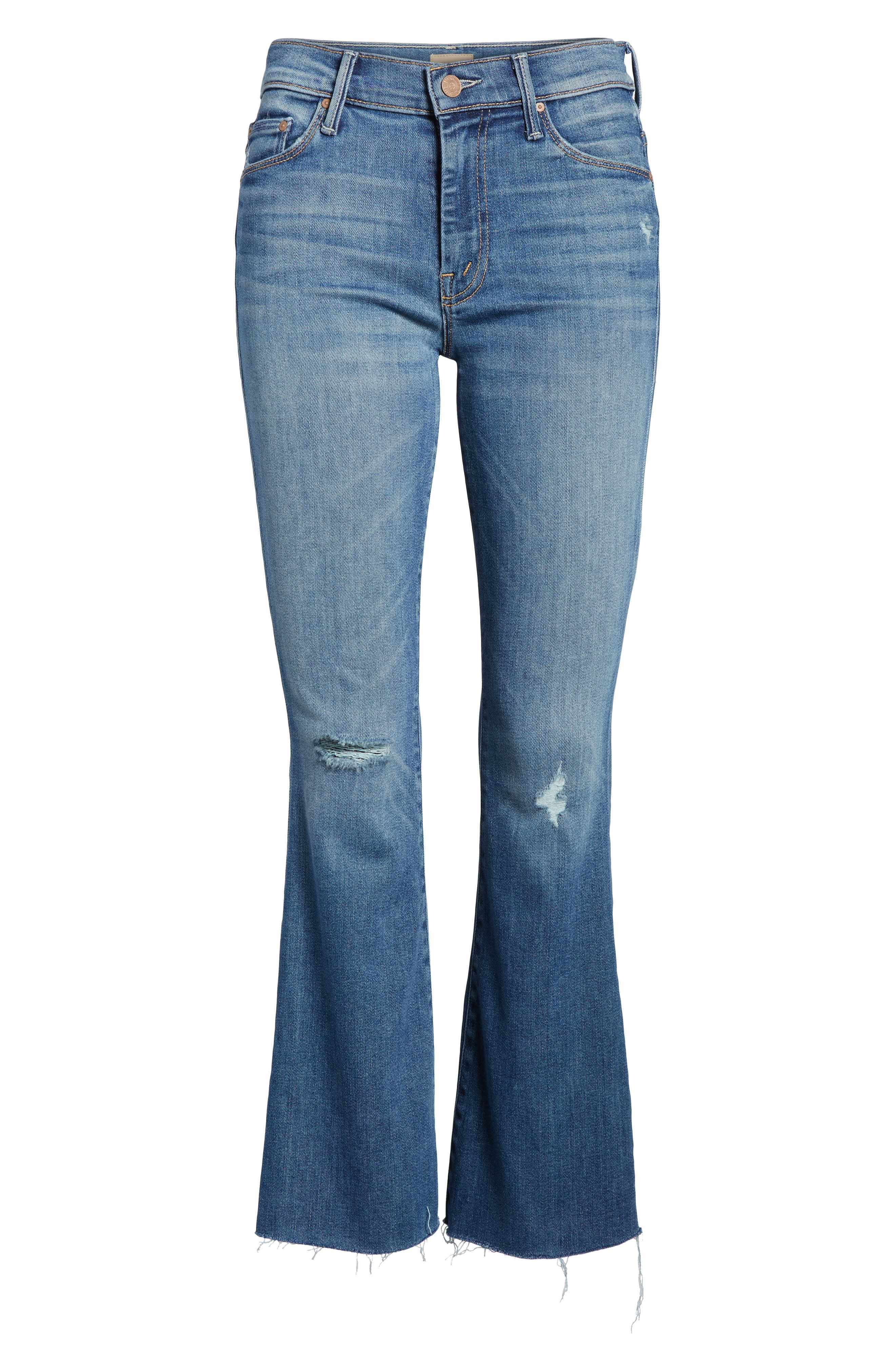 MOTHER, Frayed Ankle Jeans, Alternate thumbnail 7, color, 420