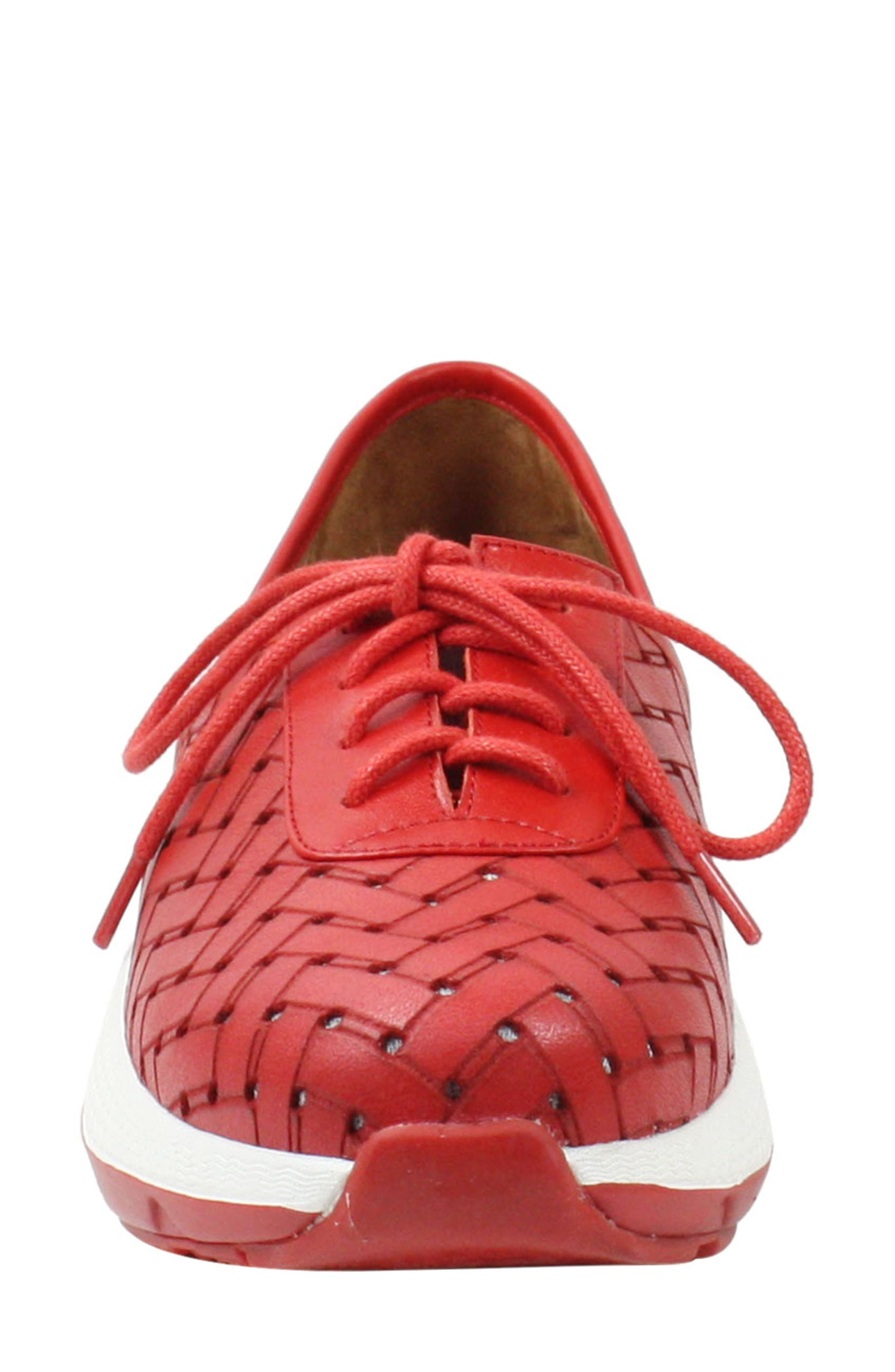 L'AMOUR DES PIEDS, Helodie Sneaker, Alternate thumbnail 4, color, RED LEATHER