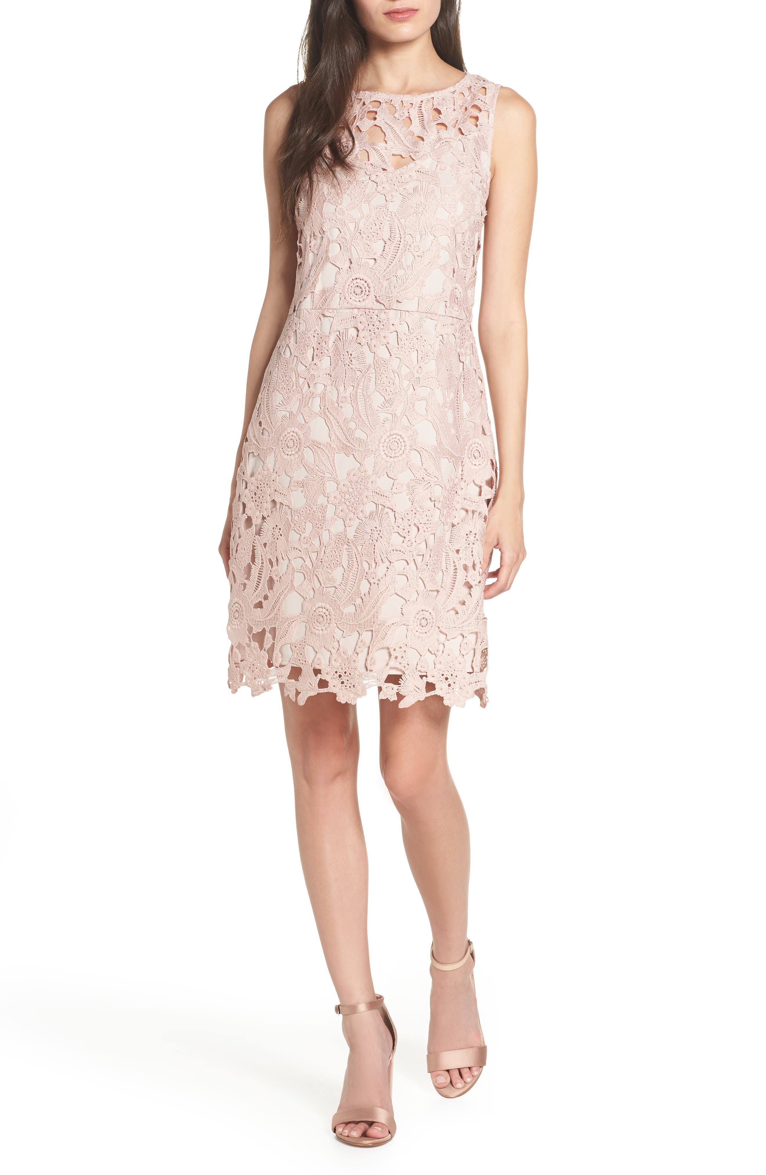 SAM EDELMAN, Lace Sheath Dress, Main thumbnail 1, color, BLUSH