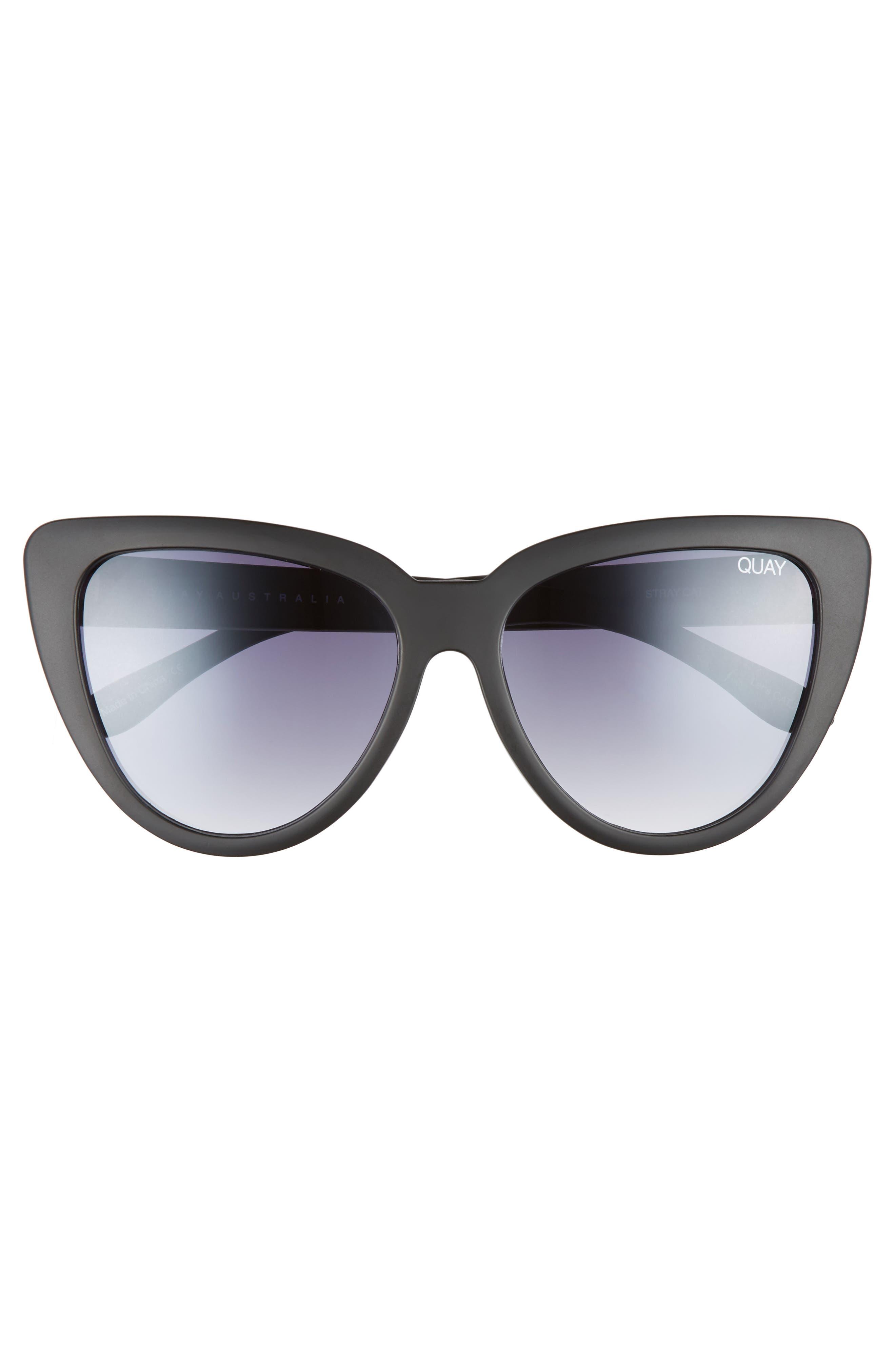 QUAY AUSTRALIA, Stray Cat 58mm Mirrored Cat Eye Sunglasses, Alternate thumbnail 3, color, 001