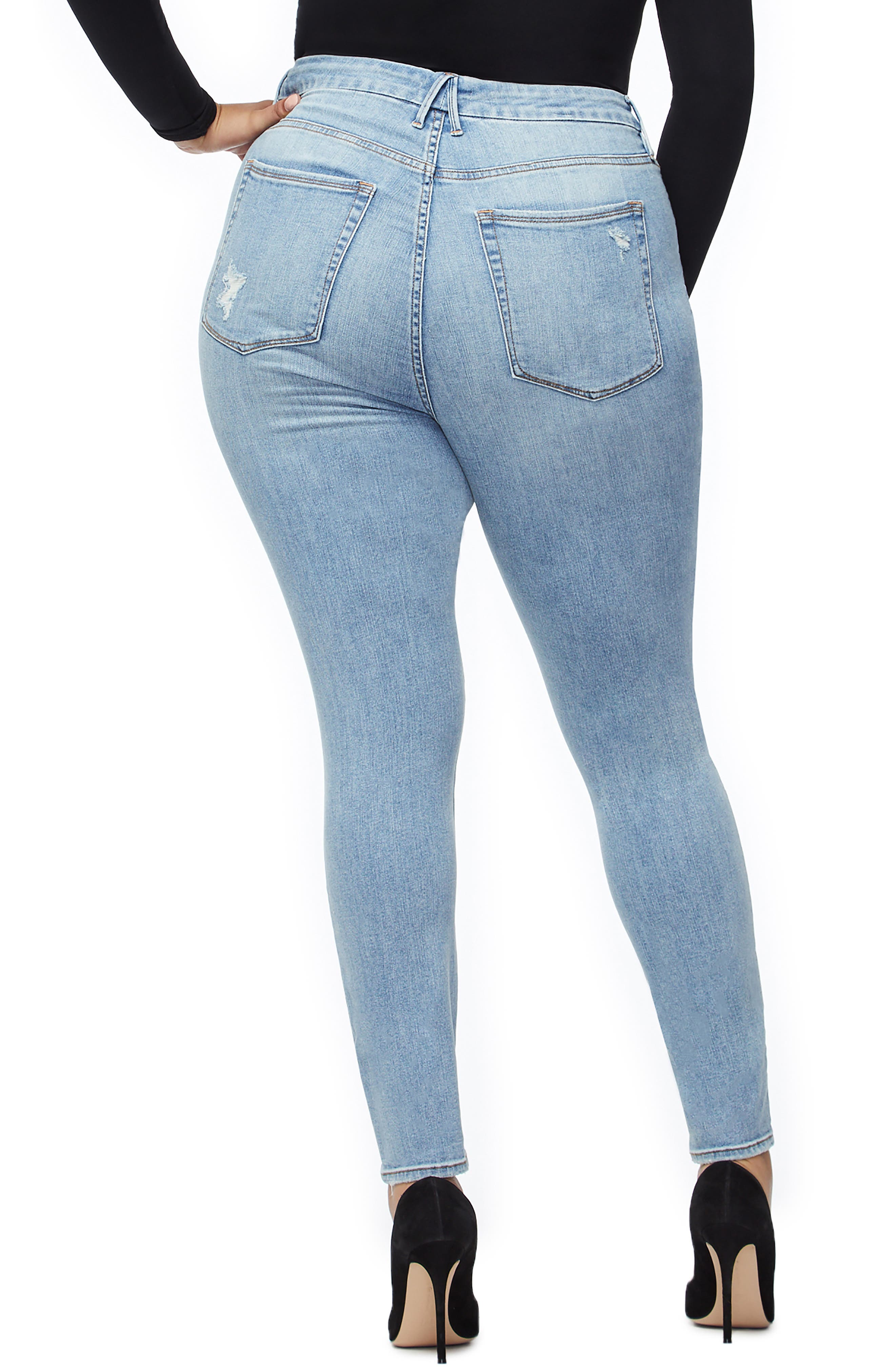 GOOD AMERICAN, Good Legs Ripped High Waist Skinny Jeans, Alternate thumbnail 6, color, BLUE221