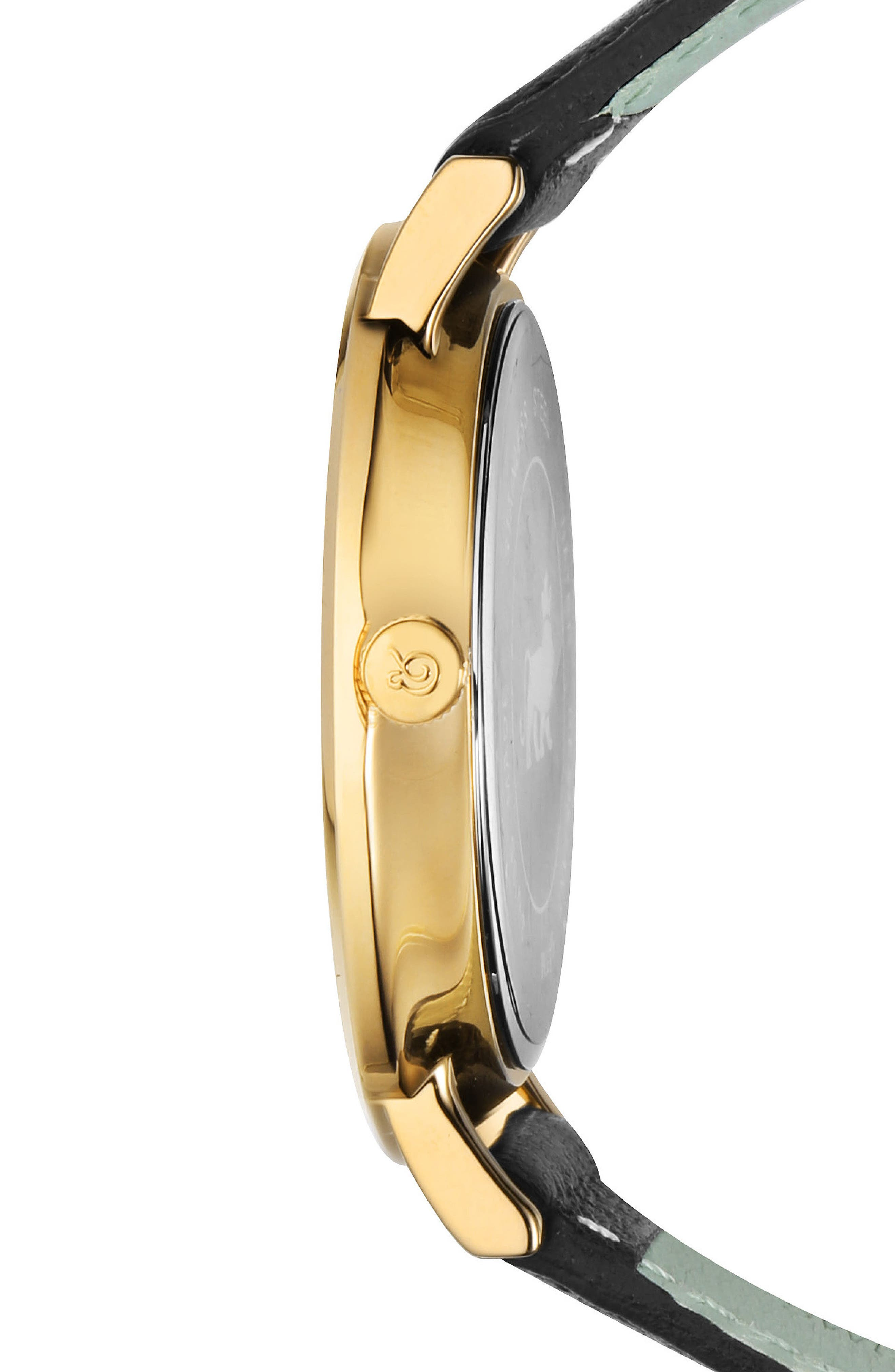 LARSSON & JENNINGS, Lugano Leather Strap Watch, 38mm, Alternate thumbnail 3, color, 001