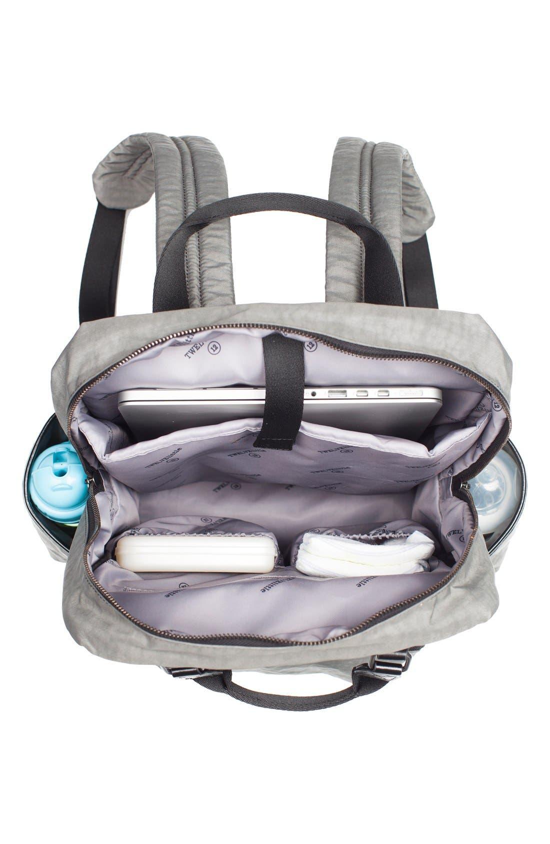 TWELVELITTLE, 'Courage' Unisex Backpack Diaper Bag, Alternate thumbnail 7, color, DARK GREY