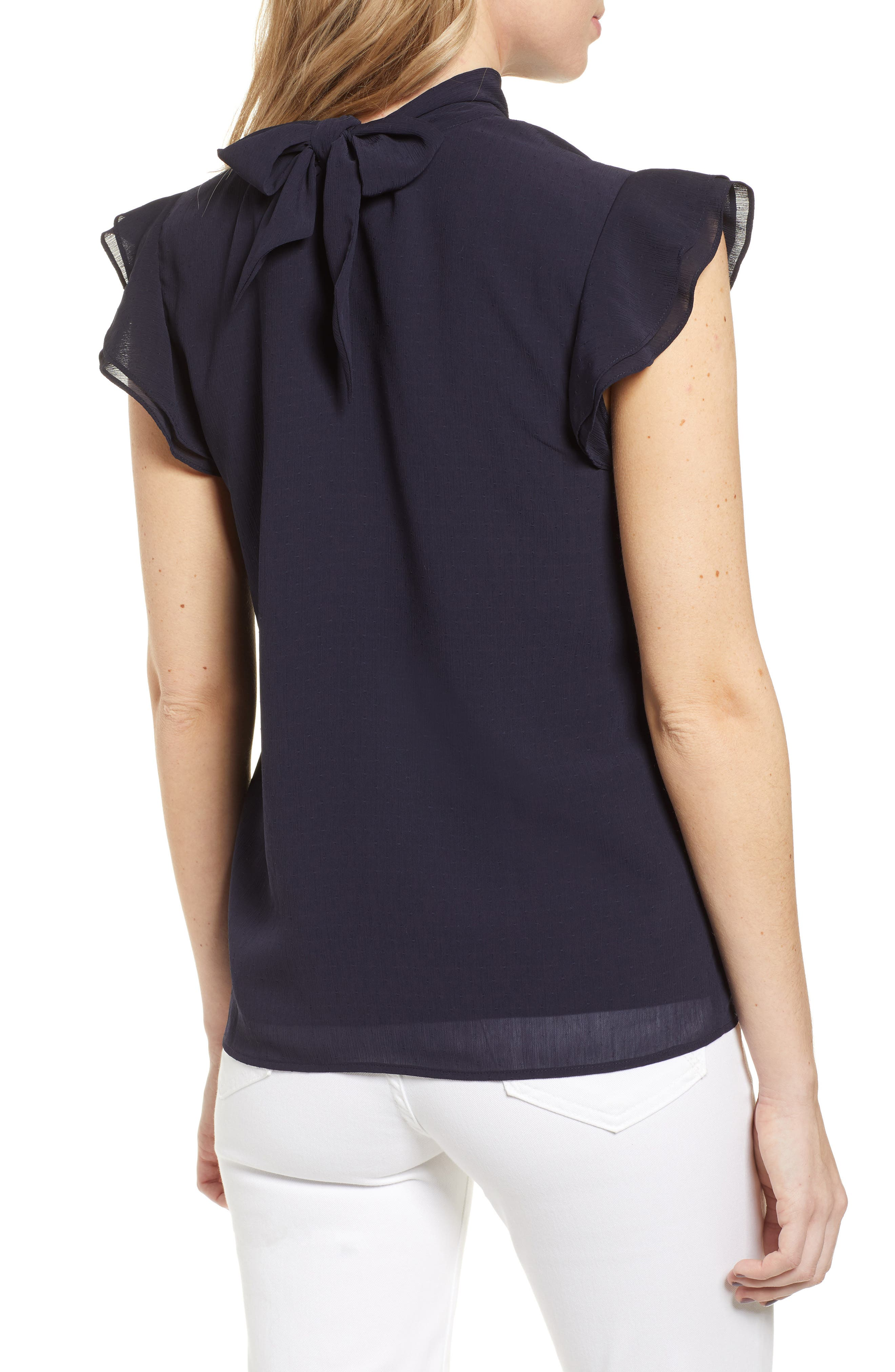 CHELSEA28, Dotted Crinkle Chiffon Top, Alternate thumbnail 2, color, NAVY NIGHT