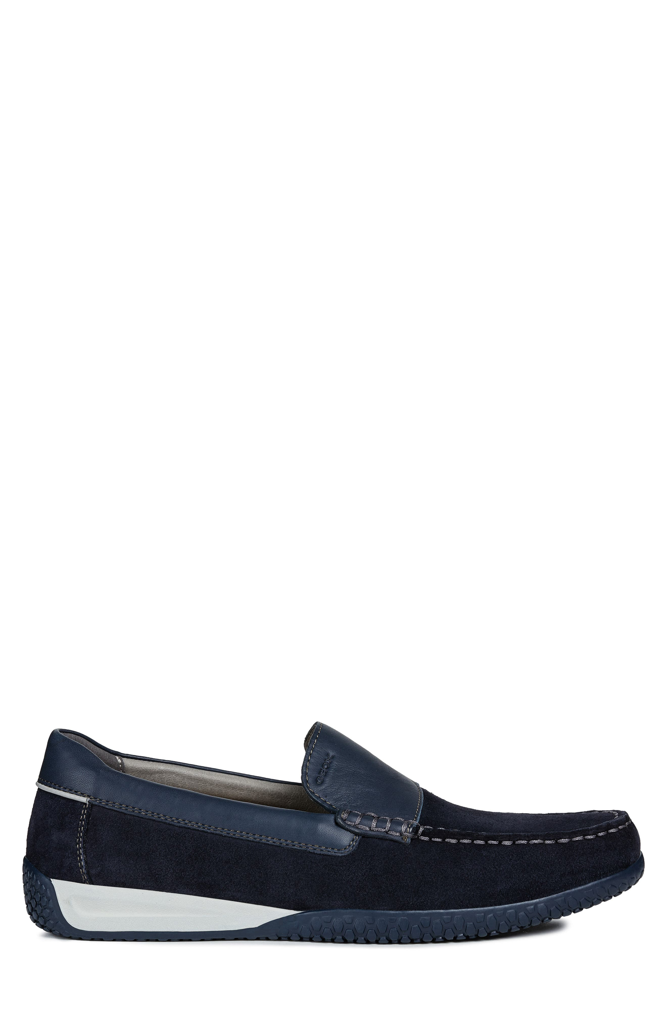 GEOX, Delrick 2 Slip-On, Alternate thumbnail 3, color, NAVY SUEDE/ LEATHER