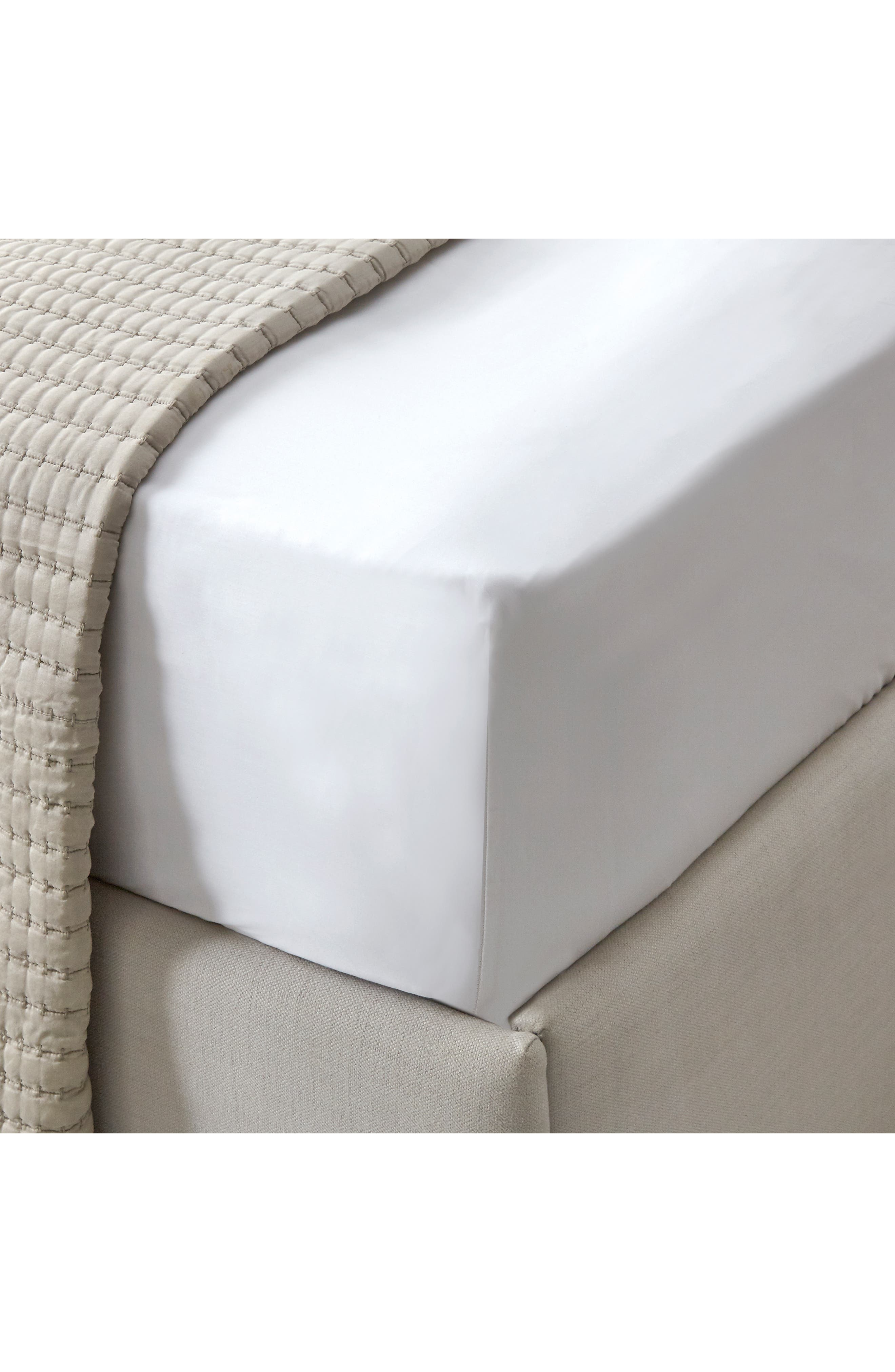THE WHITE COMPANY Connaught Fitted Sheet, Main, color, CHALK