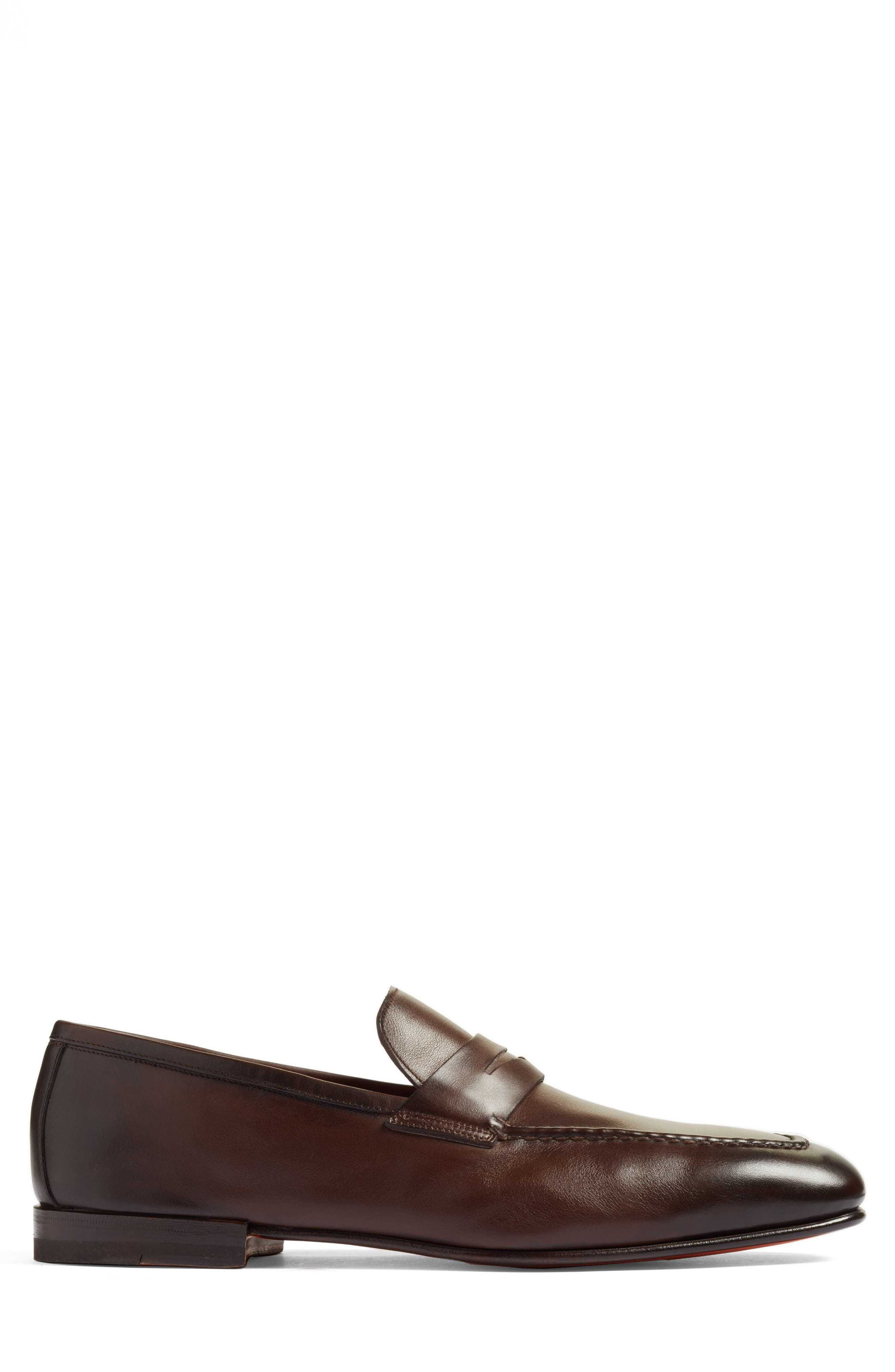 SANTONI, Fox Packable Penny Loafer, Alternate thumbnail 3, color, DARK BROWN LEATHER