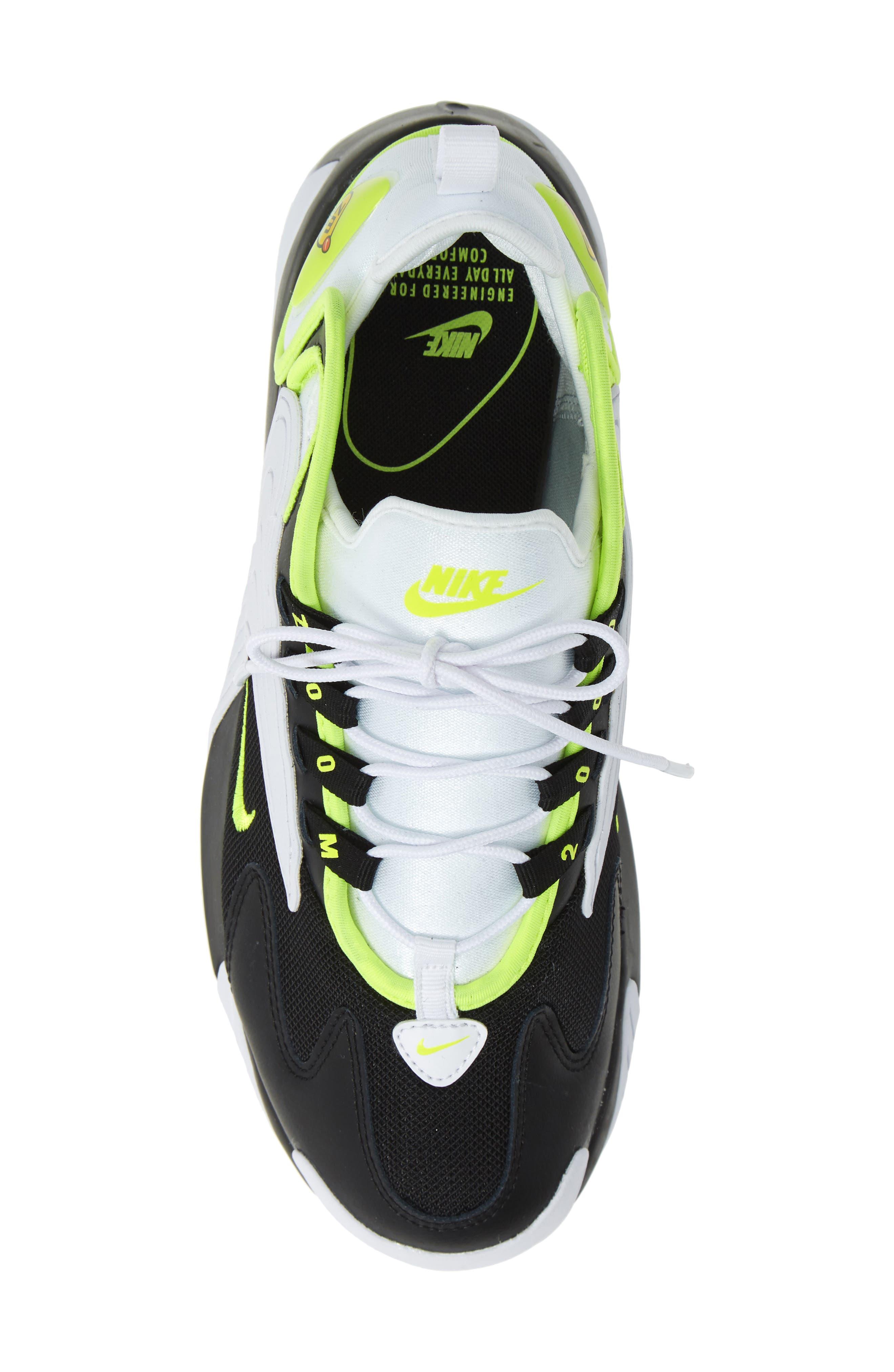 NIKE, Zoom 2K Sneaker, Alternate thumbnail 5, color, BLACK/ VOLT/ WHITE