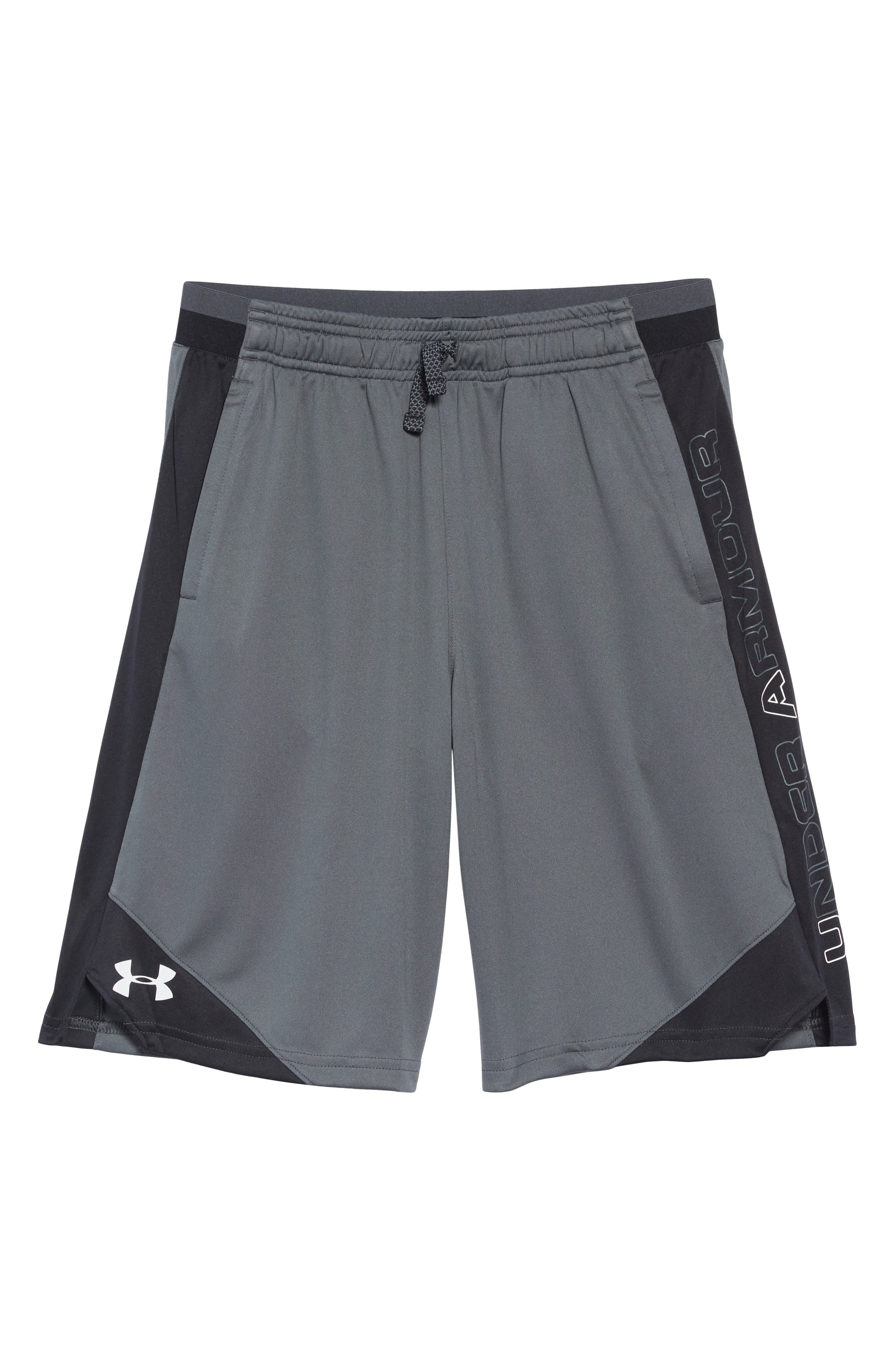 UNDER ARMOUR, Stunt 2 Shorts, Main thumbnail 1, color, PITCH GRAY/ WHITE