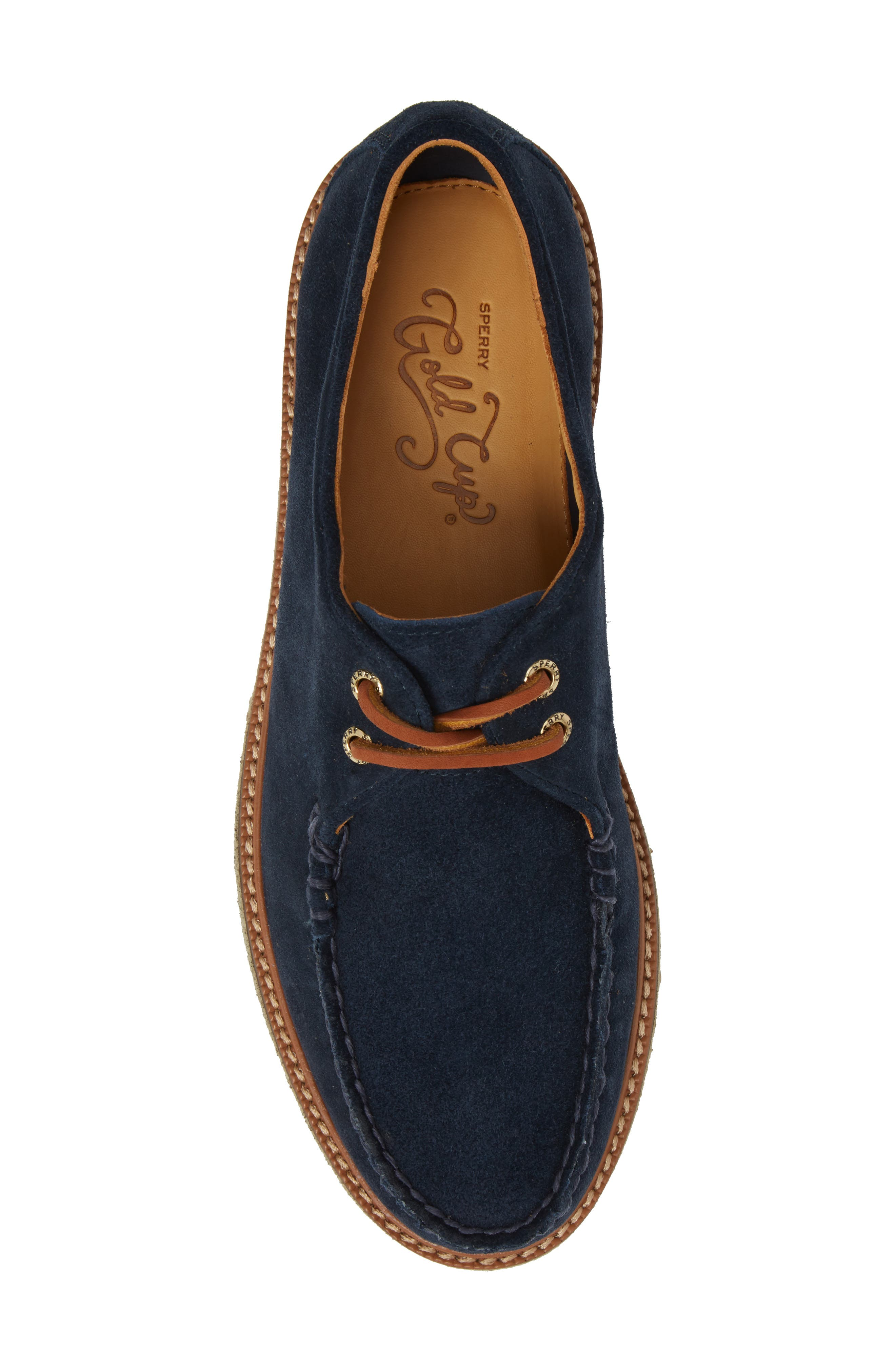 SPERRY, Gold Cup Captain's Crepe Sole Oxford, Alternate thumbnail 5, color, BLUE LEATHER/ SUEDE