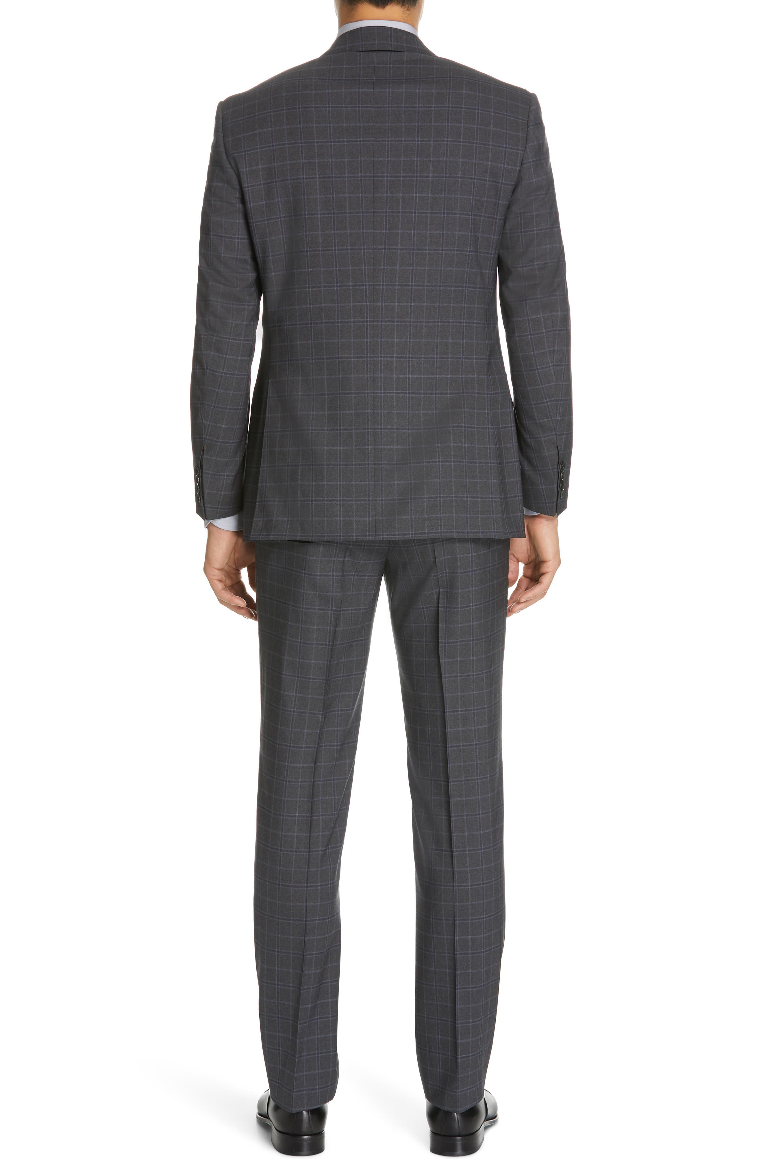 CANALI, Sienna Classic Fit Plaid Wool Suit, Alternate thumbnail 2, color, CHARCOAL