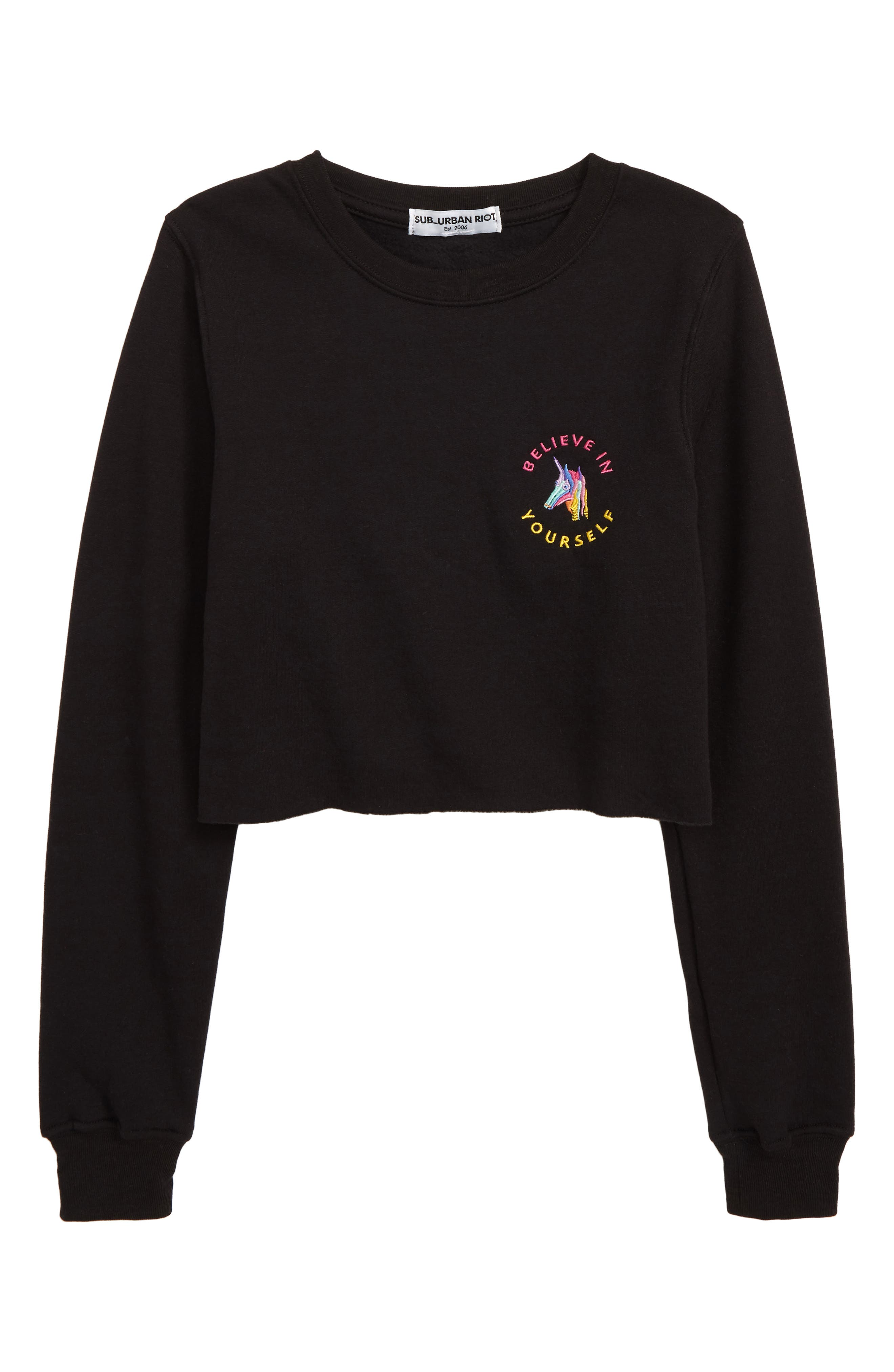 SUB_URBAN RIOT, Believe in Yourself Sweatshirt, Main thumbnail 1, color, BLACK