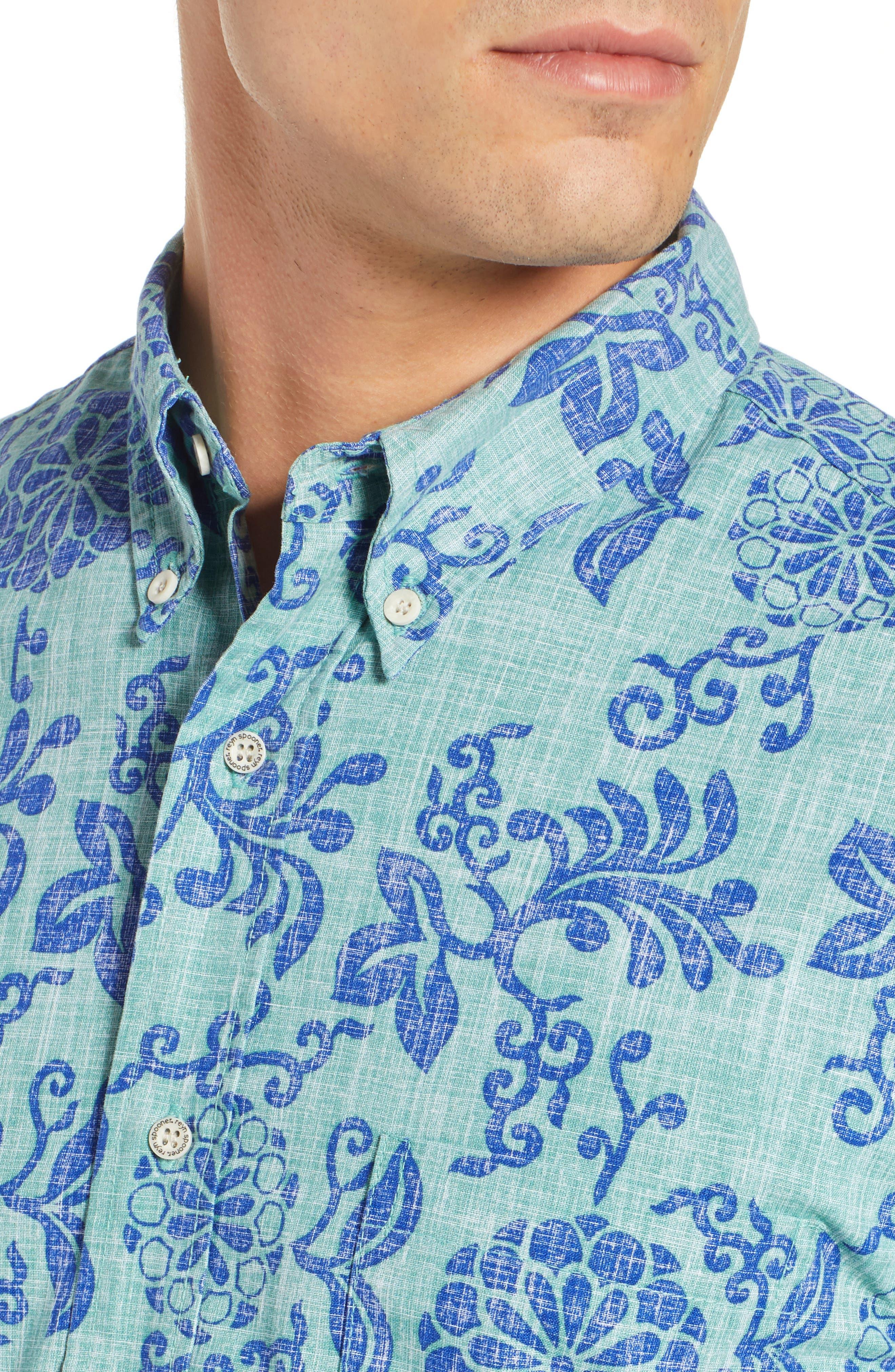 REYN SPOONER, Royal Chrysanthemums Regular Fit Sport Shirt, Alternate thumbnail 2, color, 310